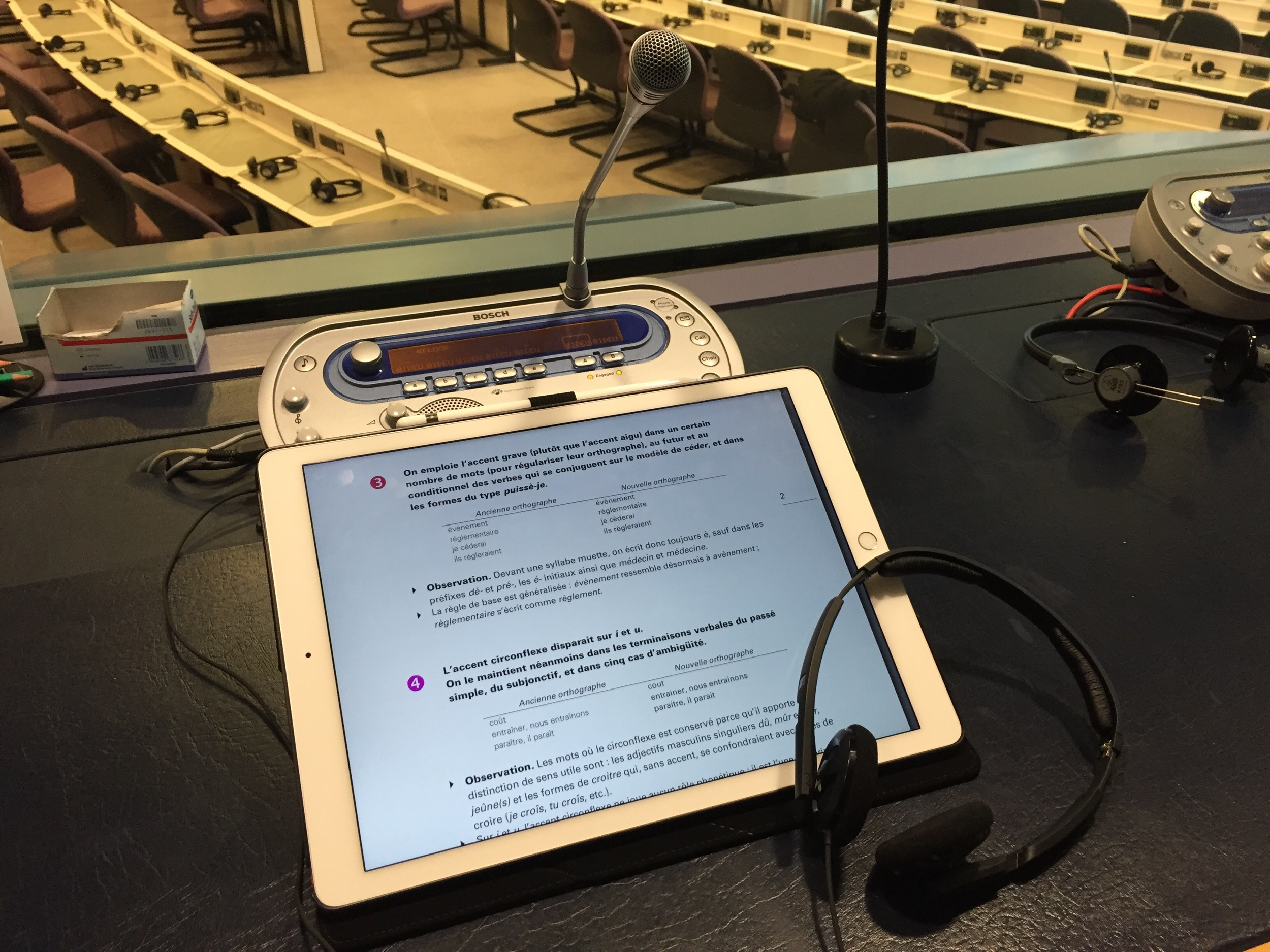 iPad Pro in an interpreting booth