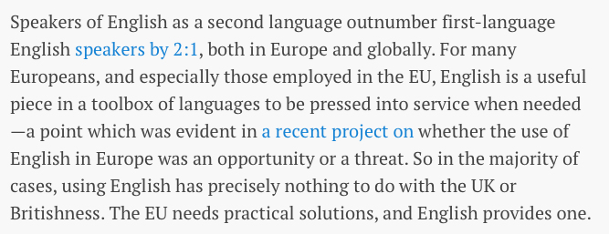 English is and will be the lingua franca of Europe in spite of Brexit
