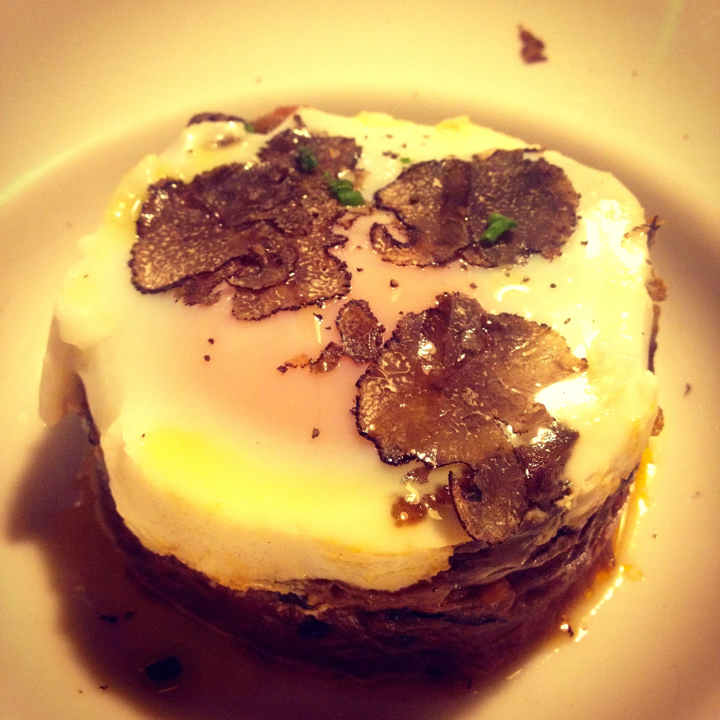 Mushroom ragout and truffled egg