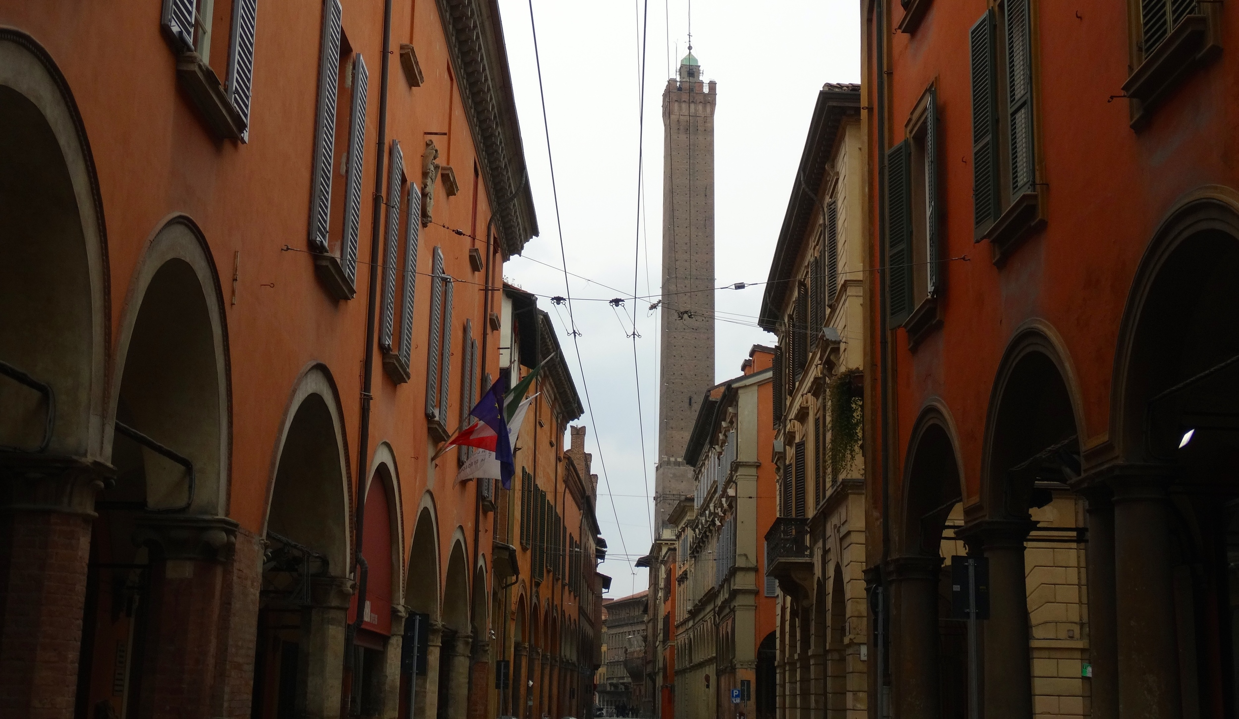 Porticos and tower in Bologna