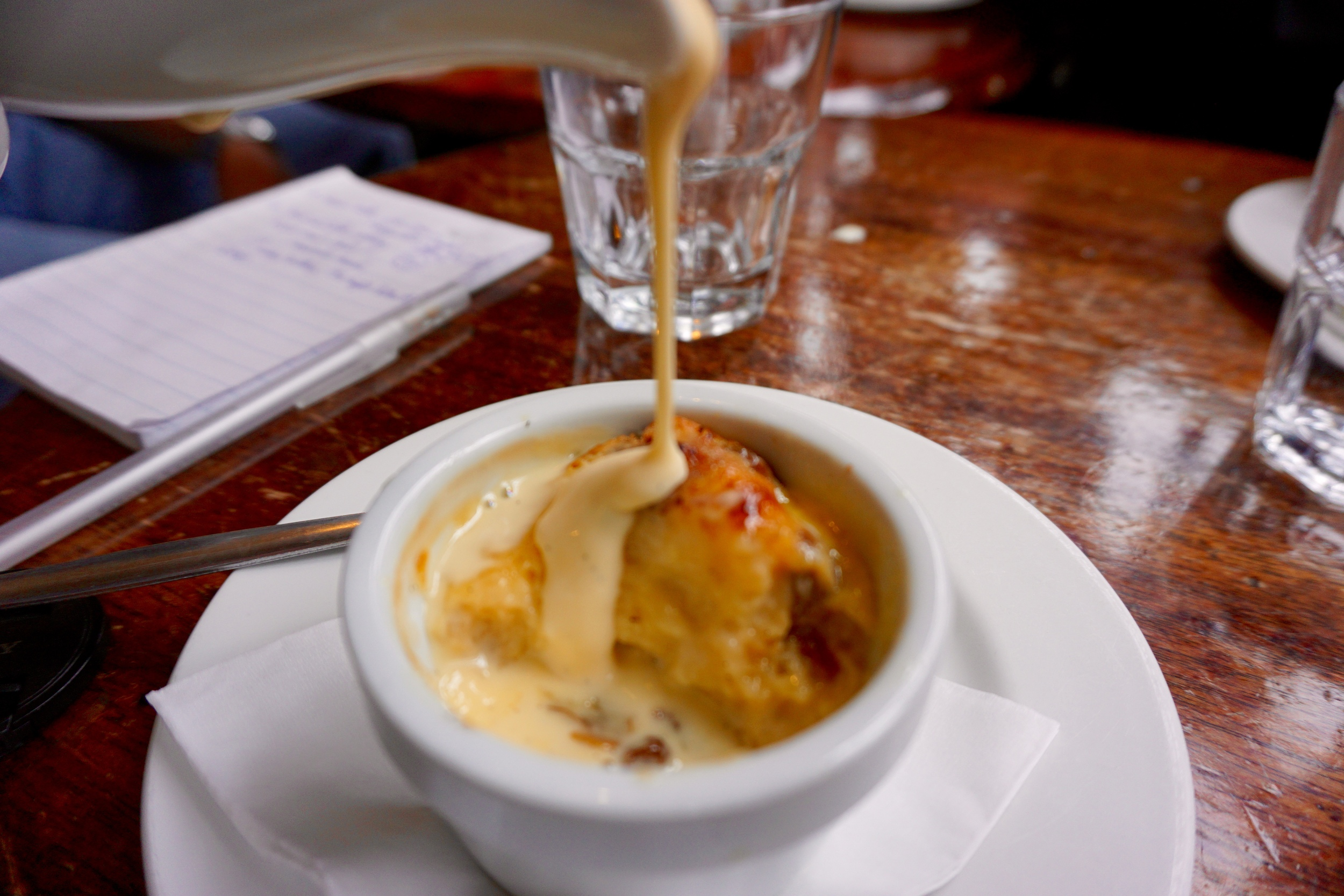 Bread and butter pudding. Good grief.