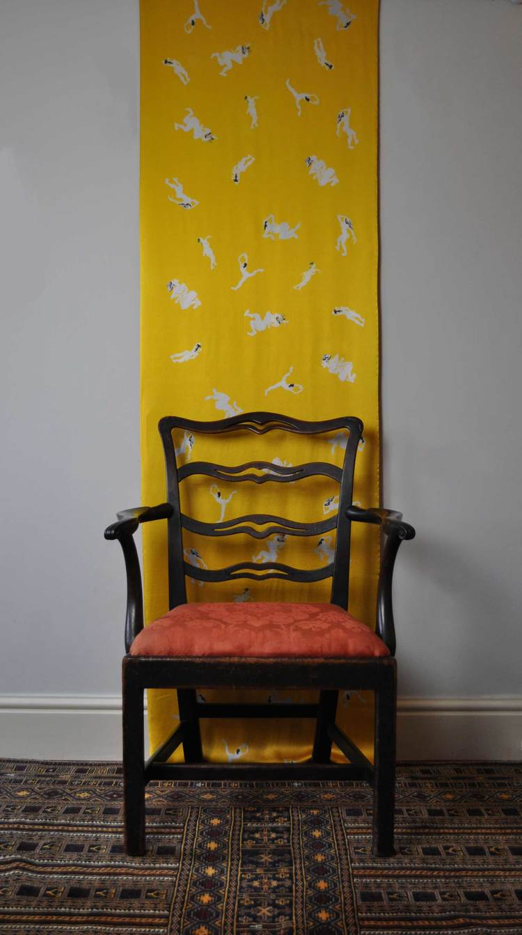 """""""Stripped by yellow & red"""", Double heavy silk satin. Hand sewn artist wall hanging. Victoria Rees. To Order."""