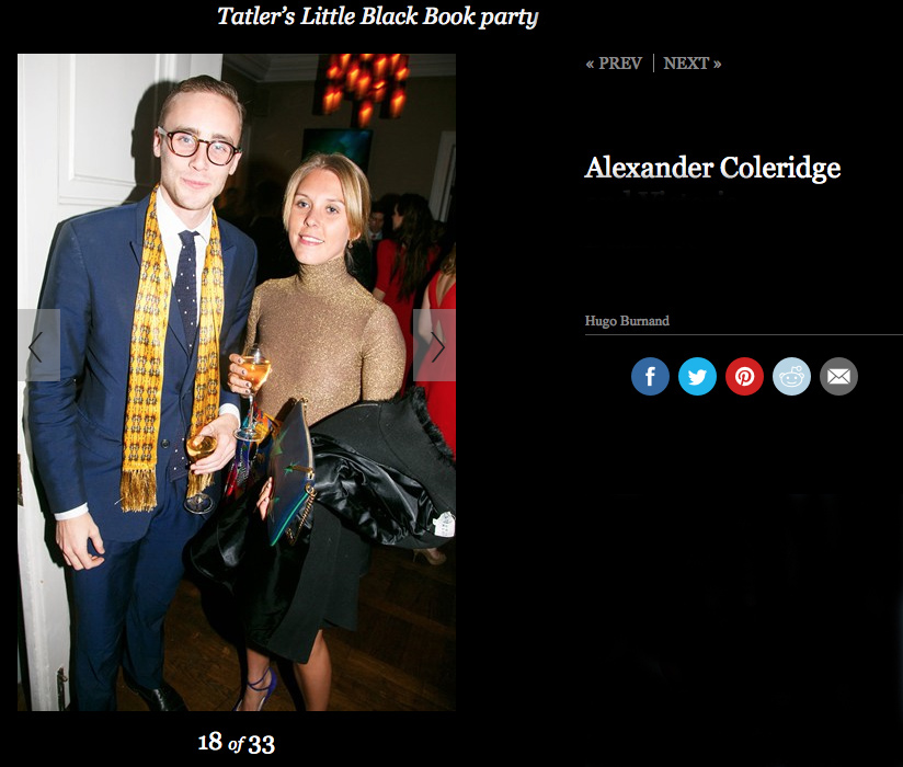 """Wonderful to see handsome Alexander Coleridge wearing one of my """"Fidelio"""" scarves to this Tatler party."""