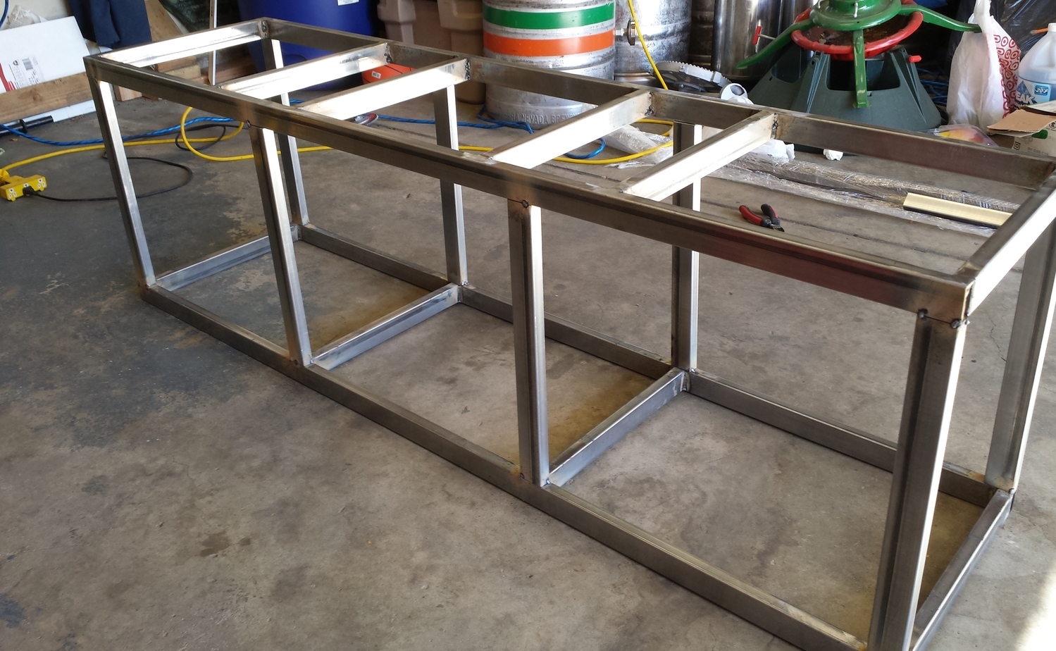 The new brew stand taking shape in the garage.