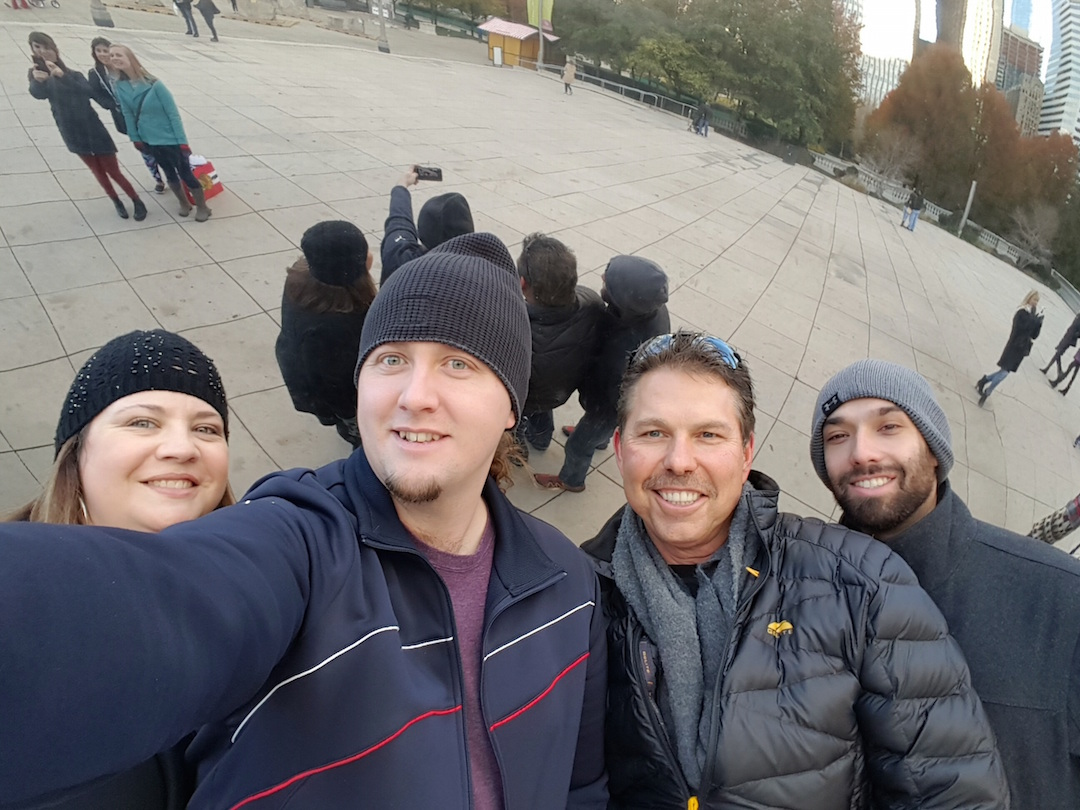 Having a chilly but fun time in Chicago. From left: Paula Zangari, Garrod Massey, Myself and Zach Fothergill.