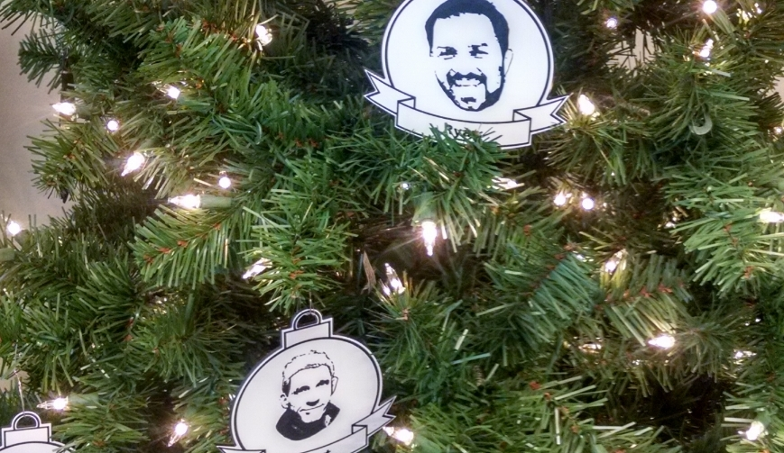 Using the UCEC engraving machine, Control Panel Craftsman Joseph Zuniga has made some very realistic employee ornaments!  Photos by Mark Inboden
