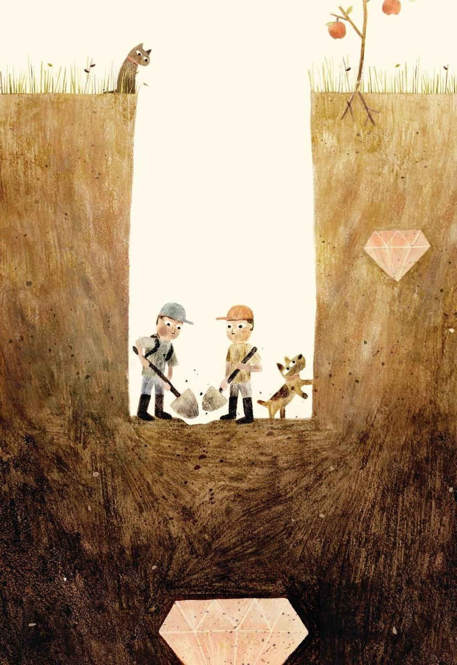 Sam and Dave Dig a Hole. Illustrator: Jon Klassen. Author: Mac Barnett