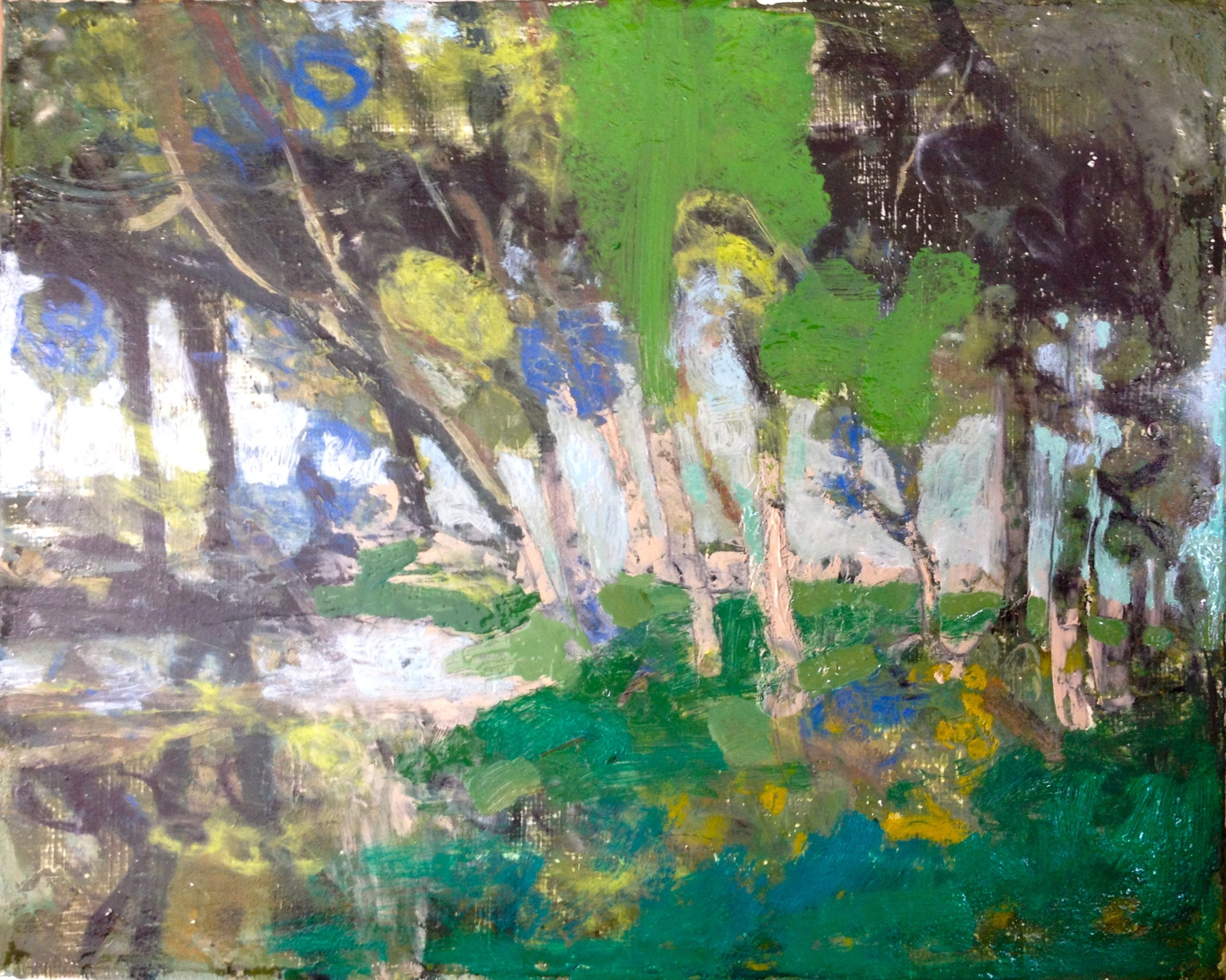 """Darger in the Woods, 2015, oil on canvas, 8"""" x 10"""""""