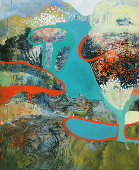 "Platforms, 2015, oil on canvas, 60"" x 48"""