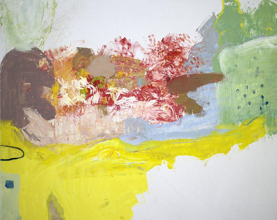 "rumplestiltskin, 2016, oil on canvas + viewer interaction, 48"" x 60"""