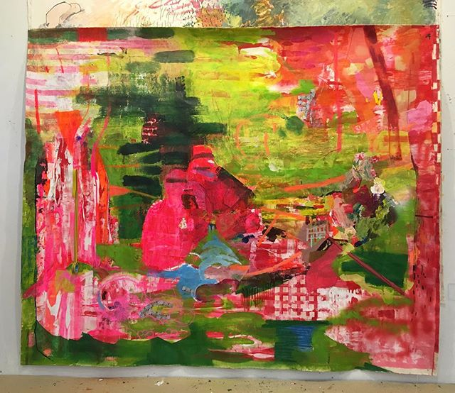 Invasion Politics and the Psychedelic Bourgeoisie, (Dejeuner Sur L'Herbe) 2019 Acrylic on Canvas/Picnic Cloth. Appearing soon: #venicebiennale This Is Not A Picnic.