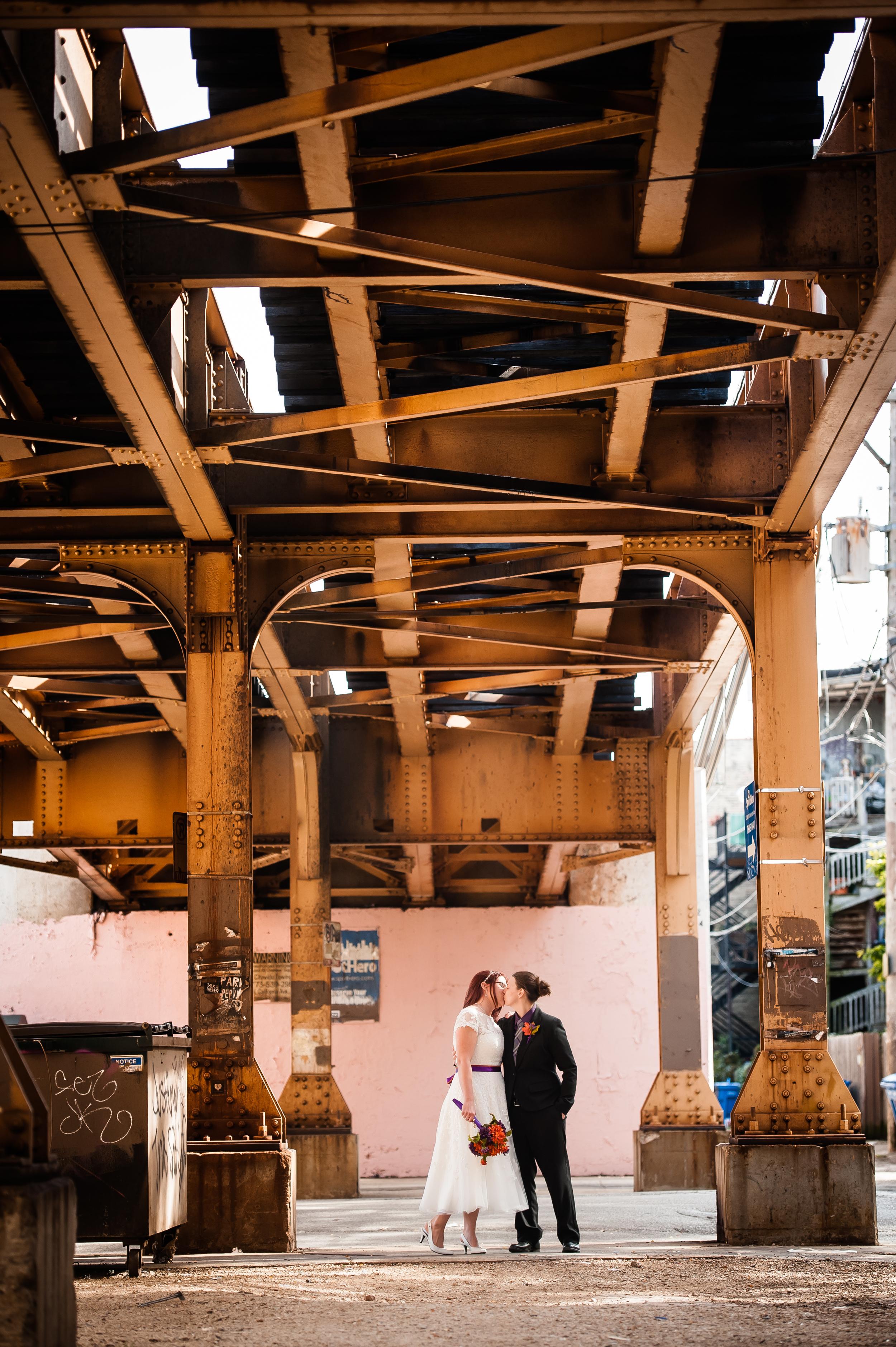 urban same sex wedding two brides