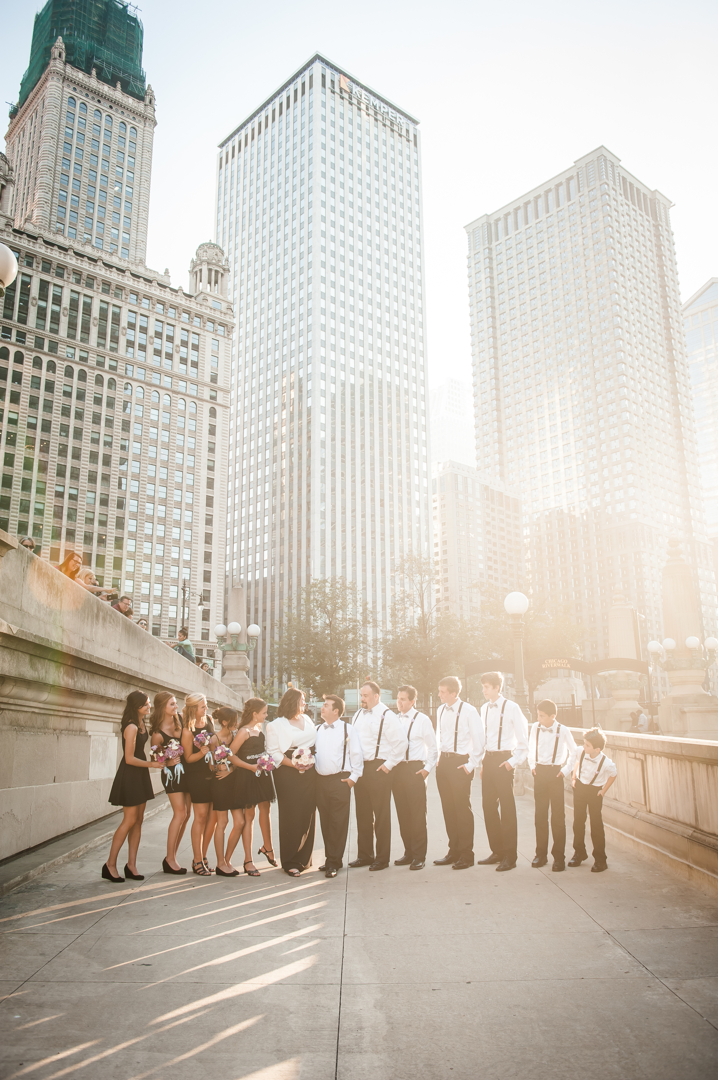 wedding party on chicago riverwalk