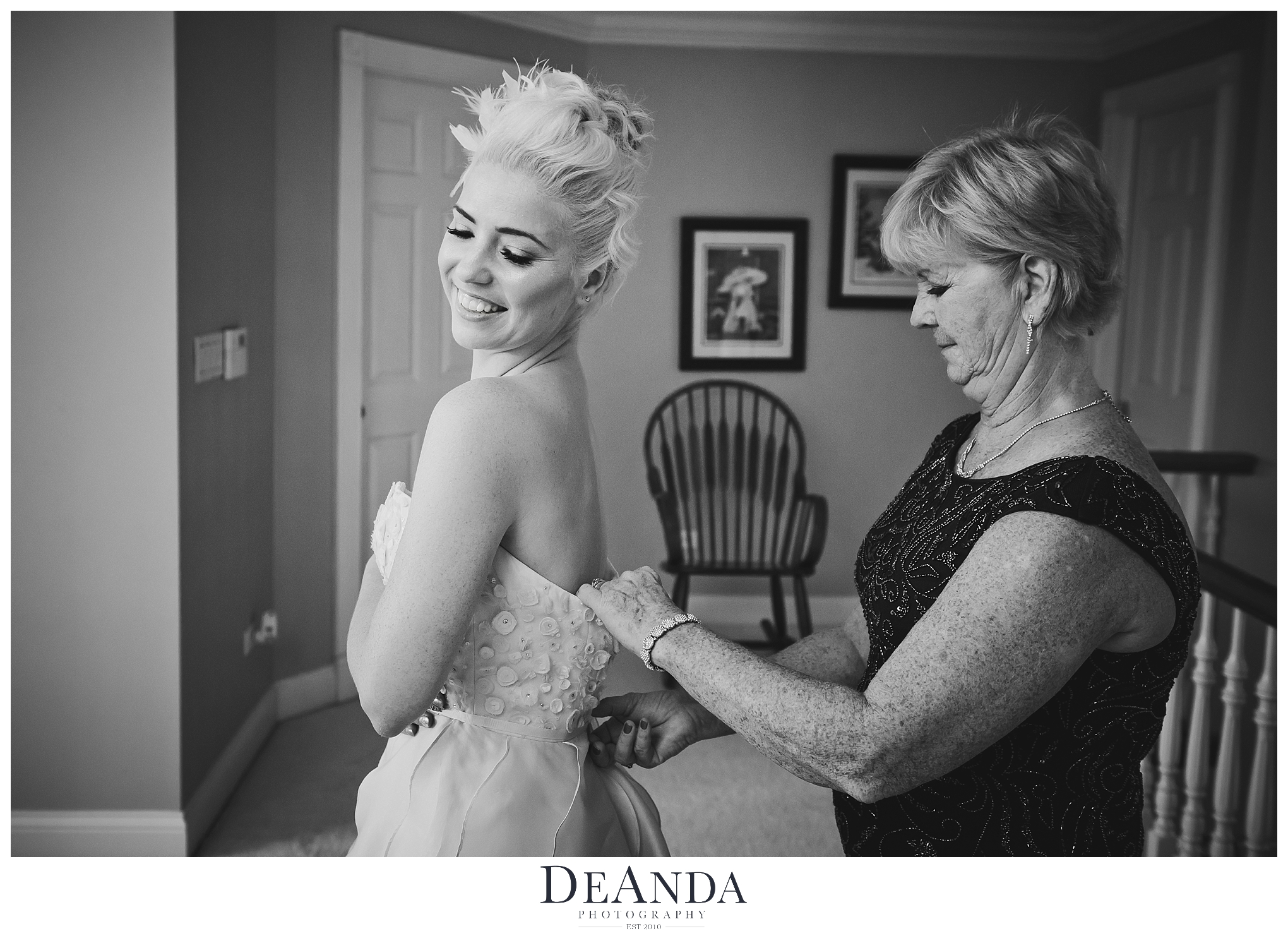 Bride getting in Dress