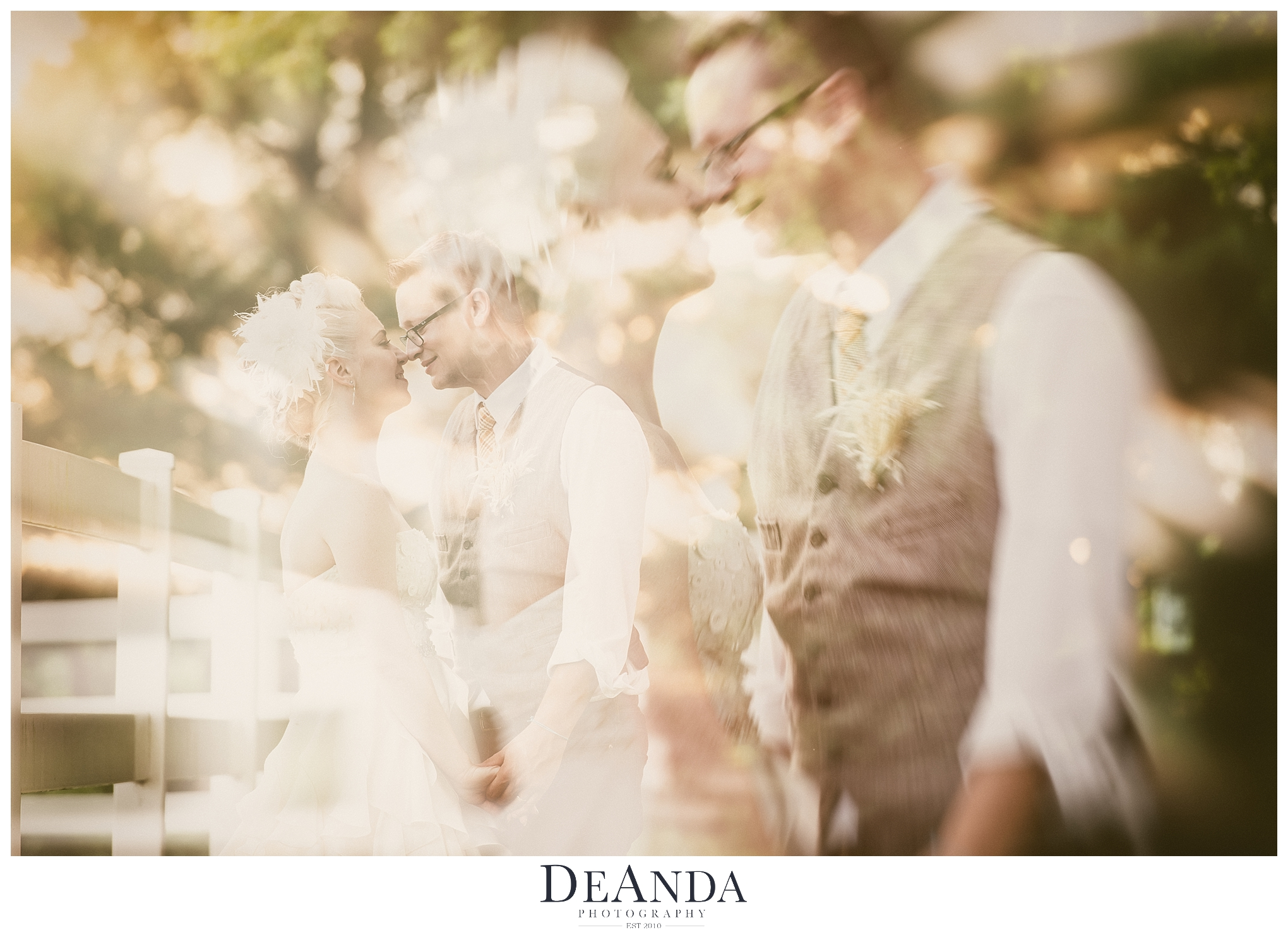 Double Exposure Image of bride and groom
