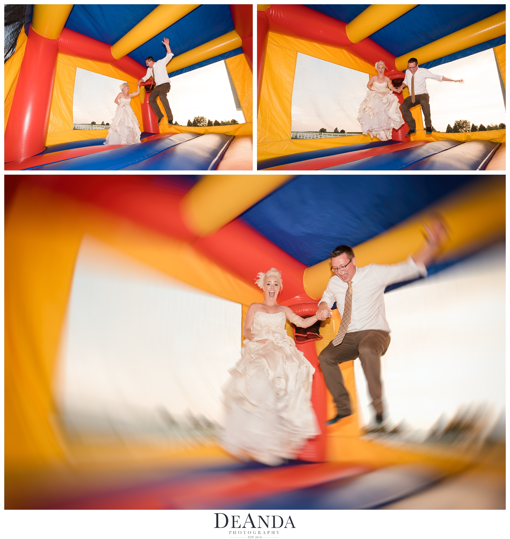 Bouncy House Wedding Couple
