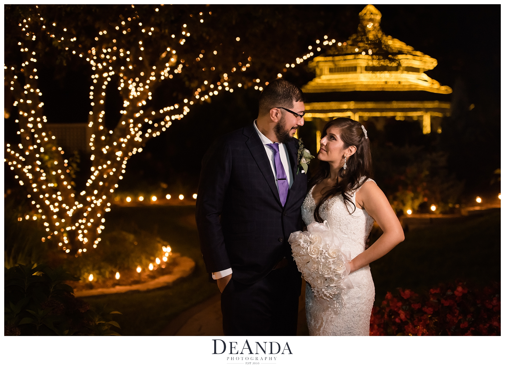 nightime photo of bride and groom