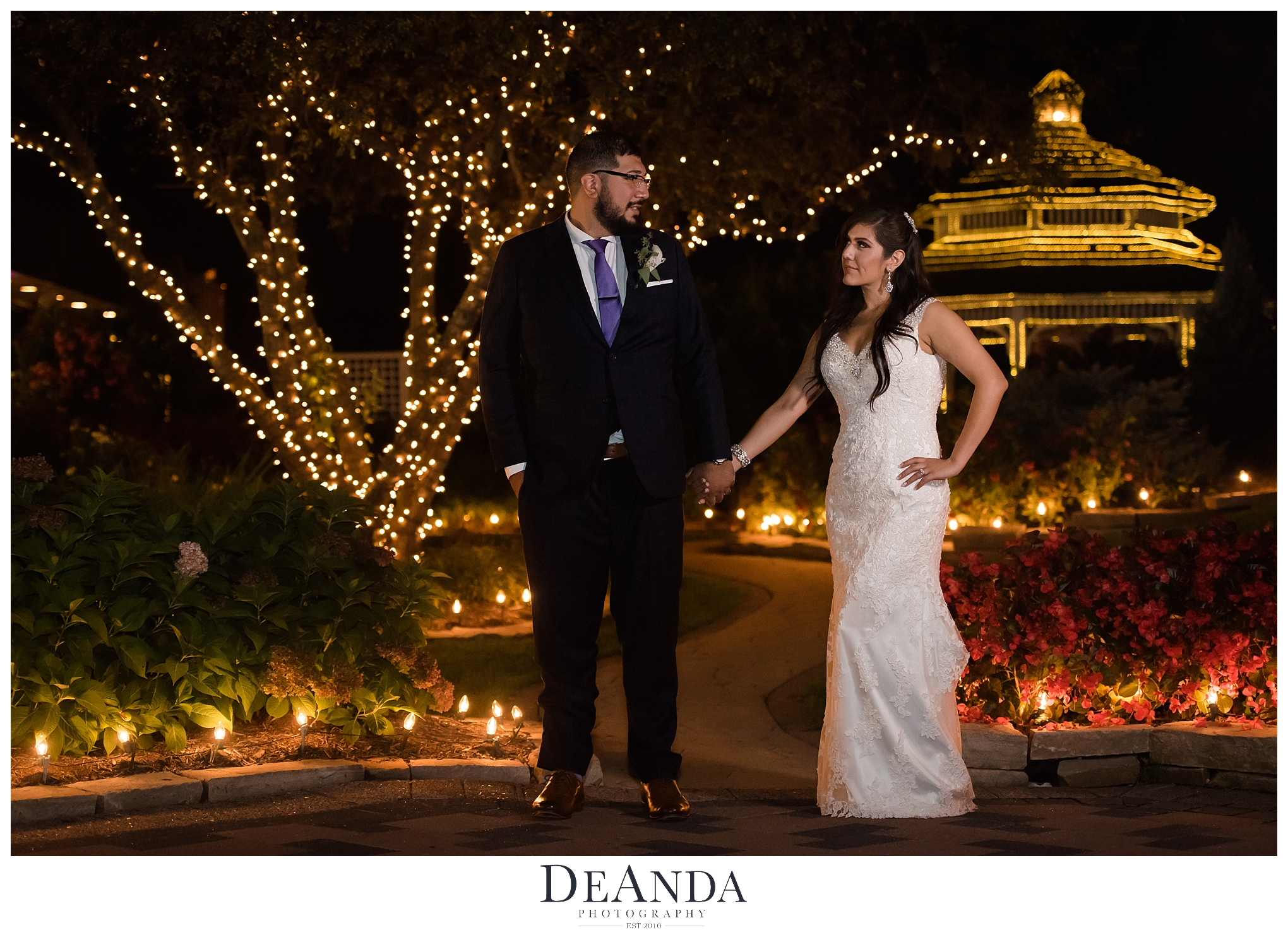 silver lake country club orland park wedding photos nightime
