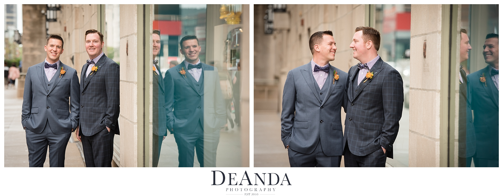 Grooms portraits in Chicago same sex wedding