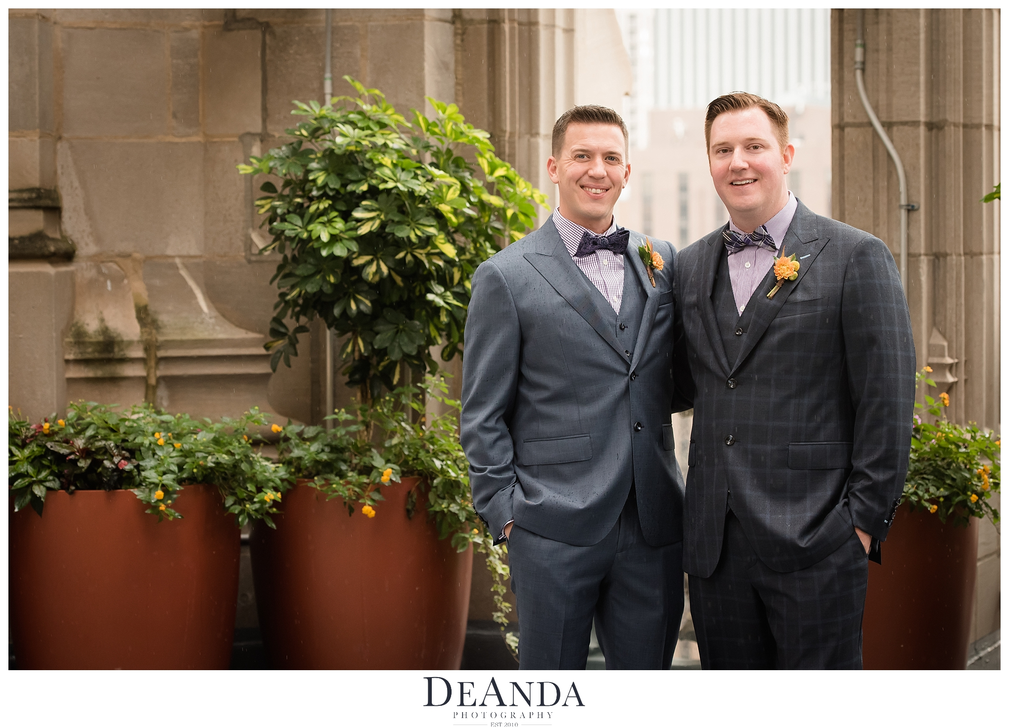 grooms on crown at tribune tower