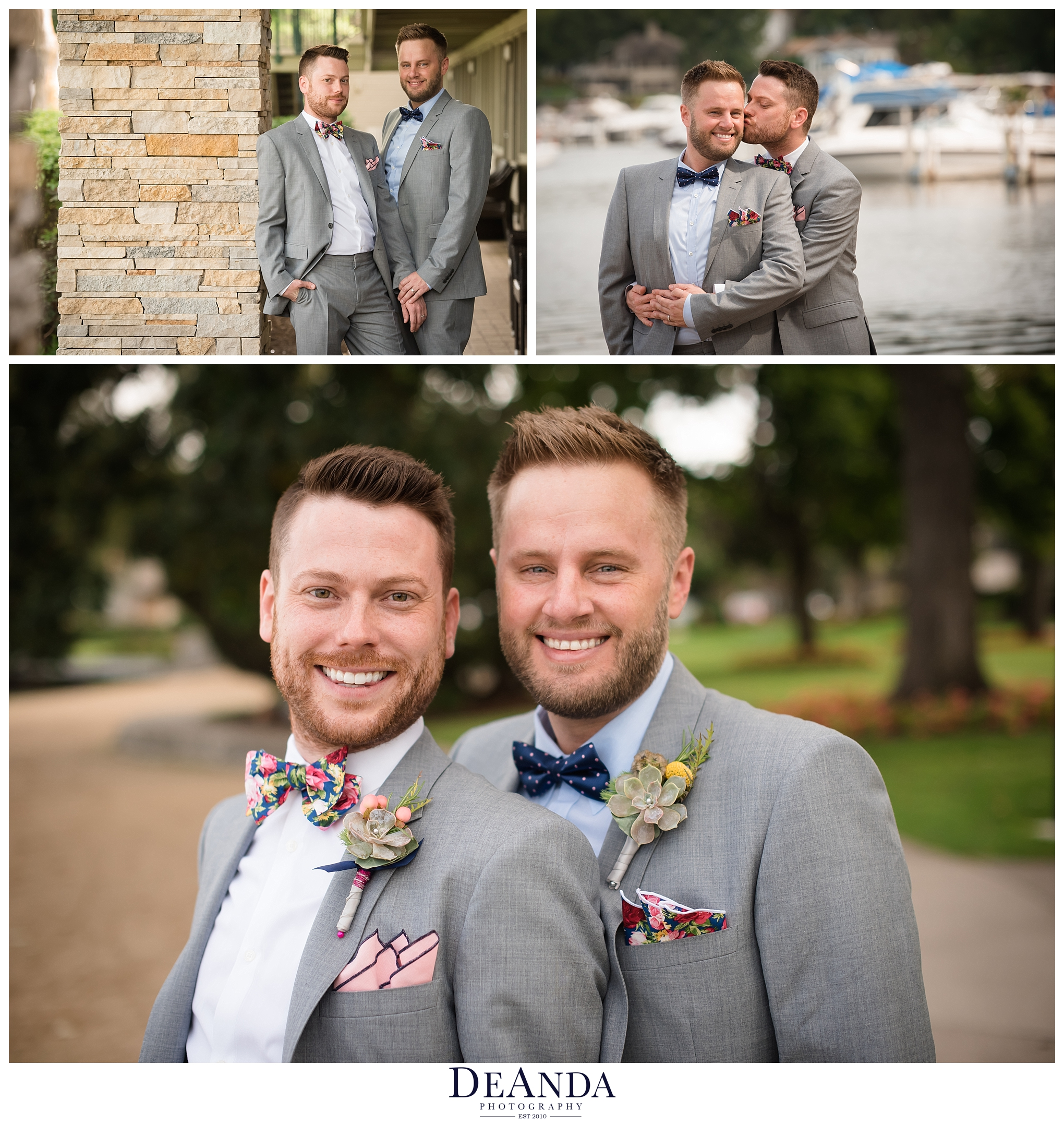 groom wedding portraits together, same sex couple