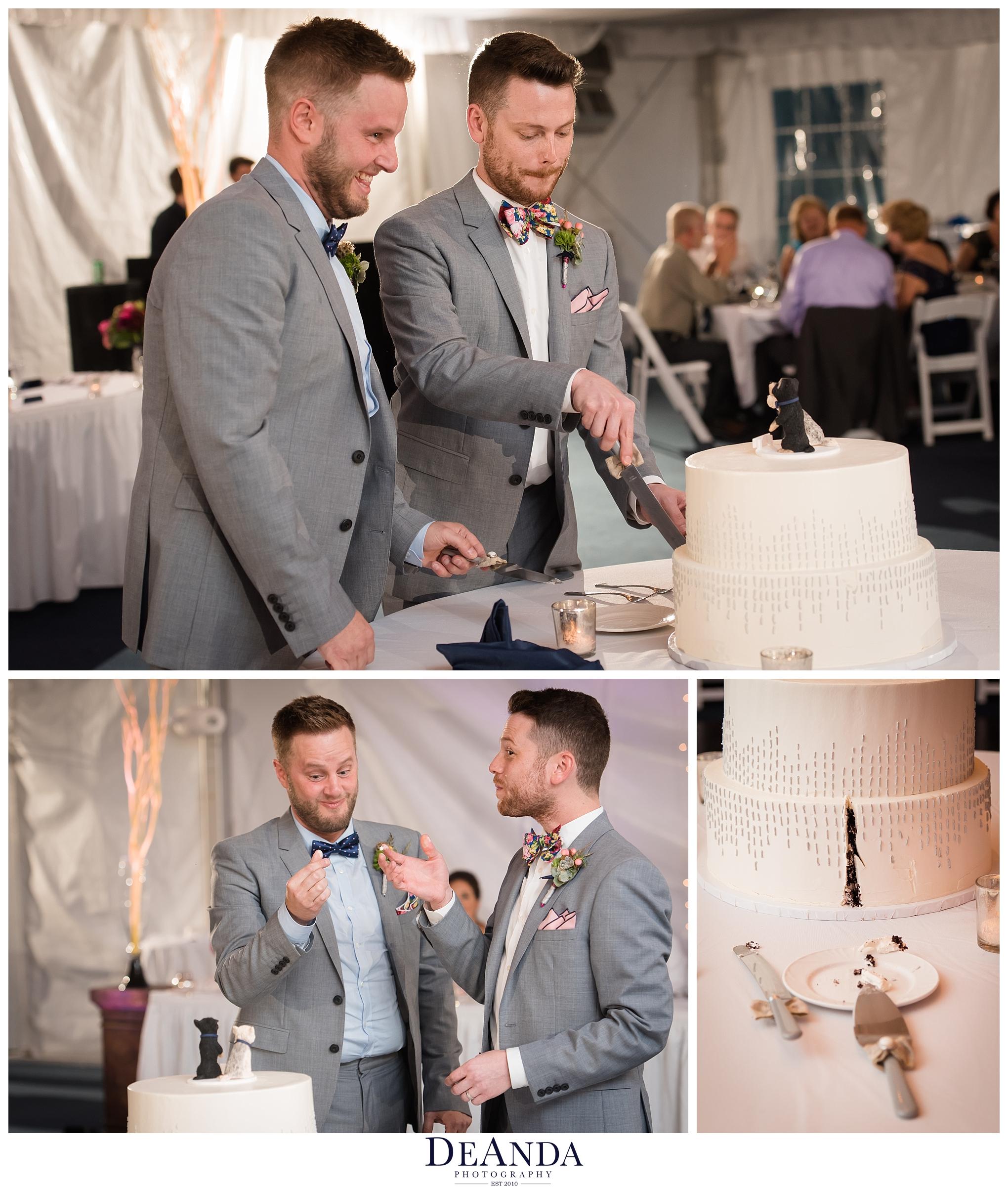 grooms cutting cake