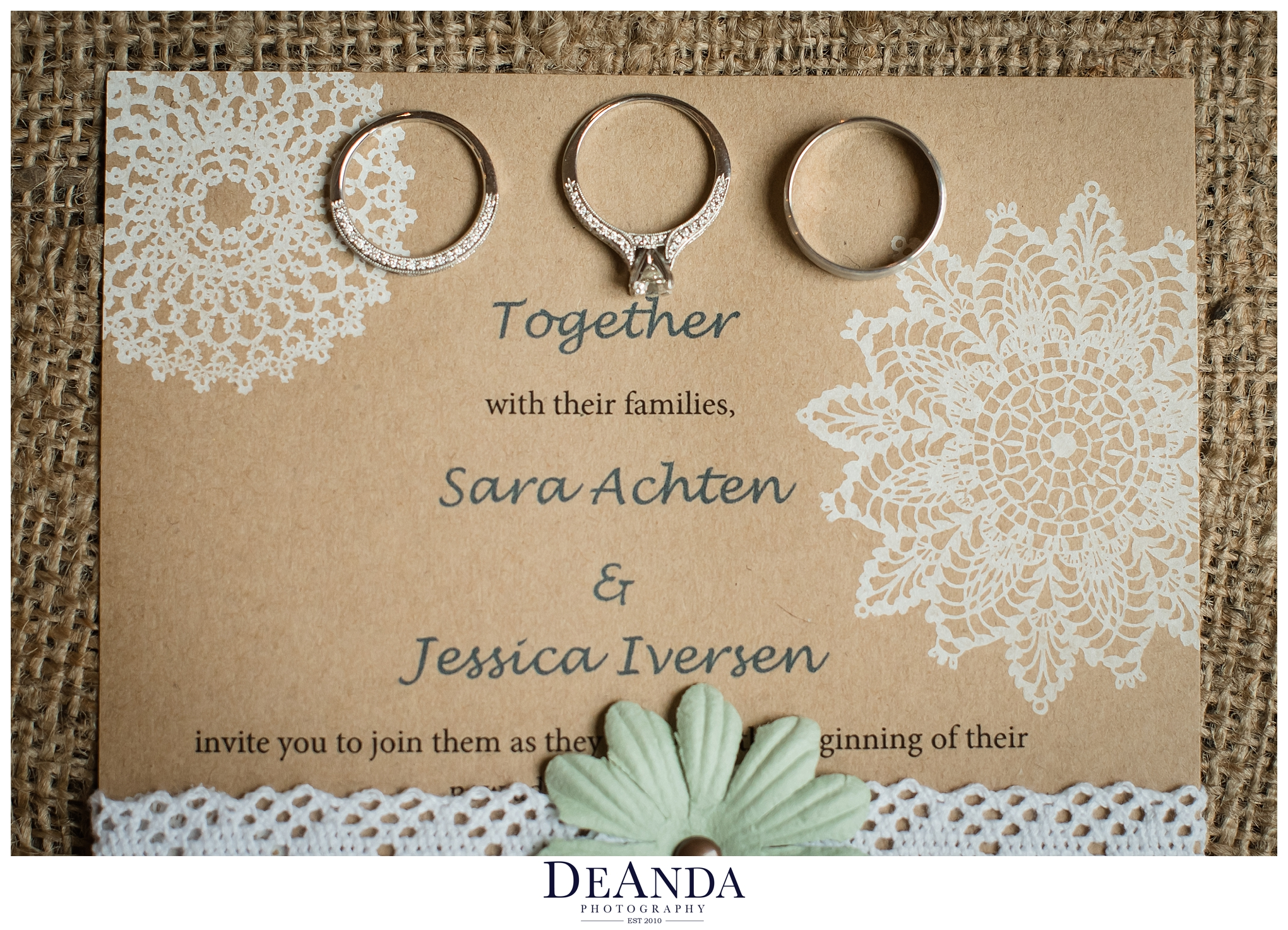 brides wedding rings on invite