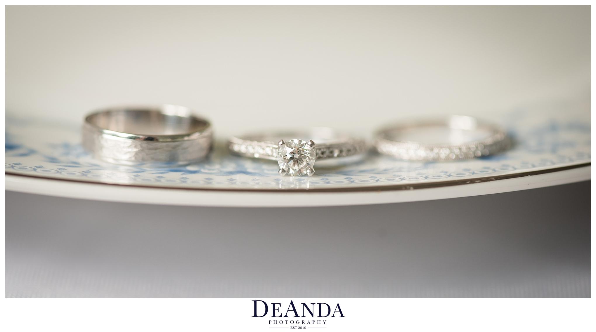 wedding rings on vintage plate
