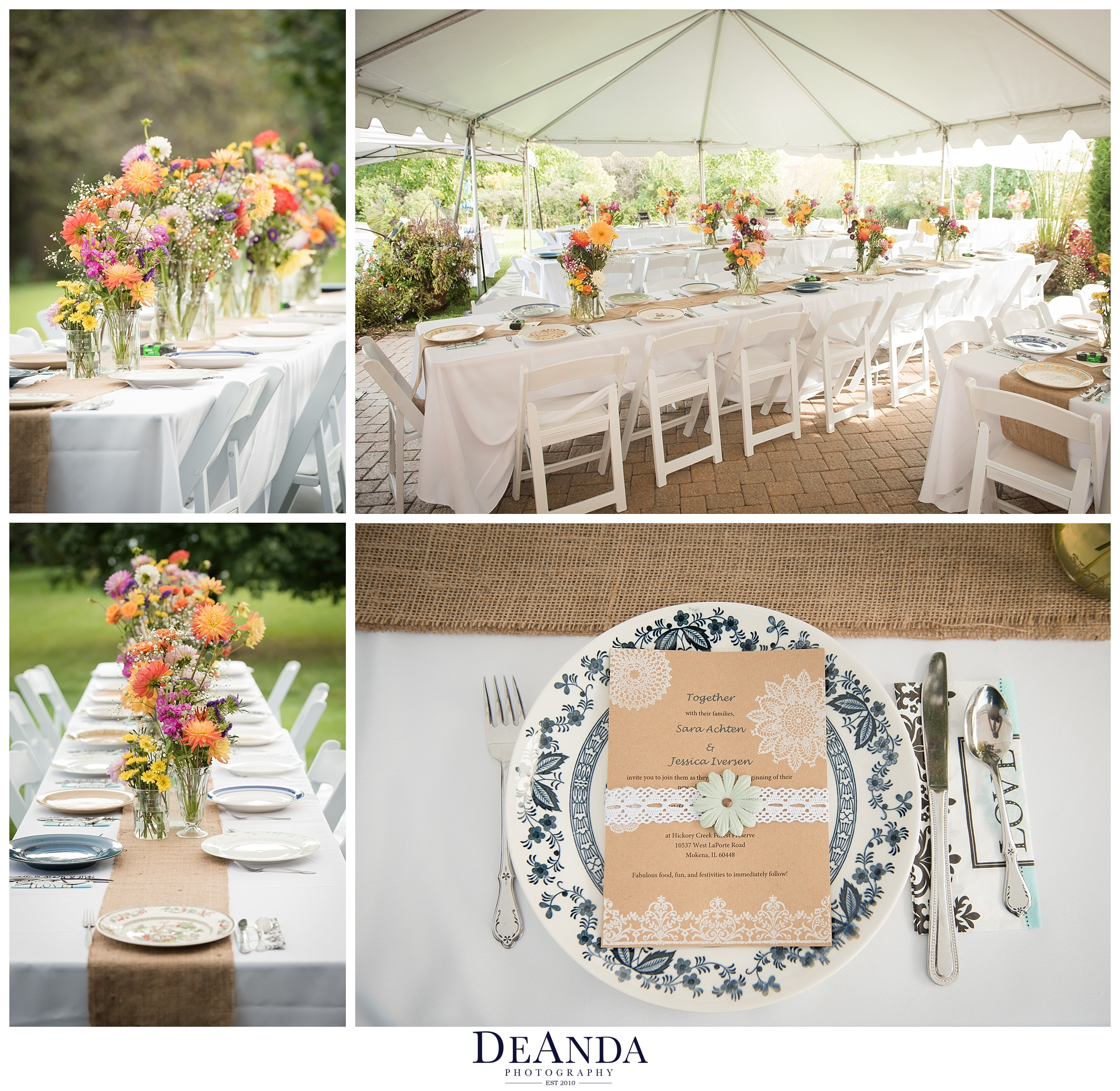 vintage plates at outdoor wedding