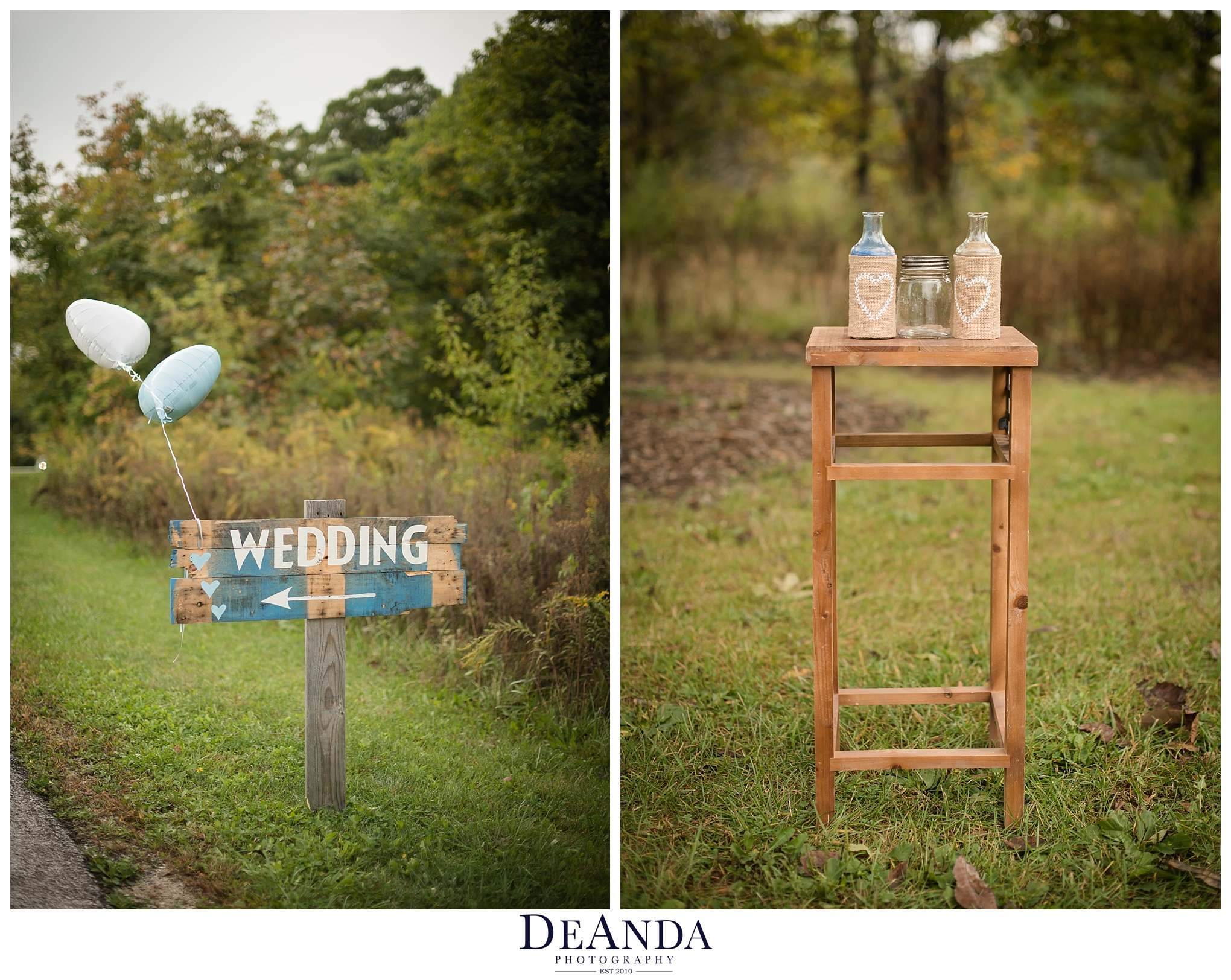 forest preserve wedding sign and sand