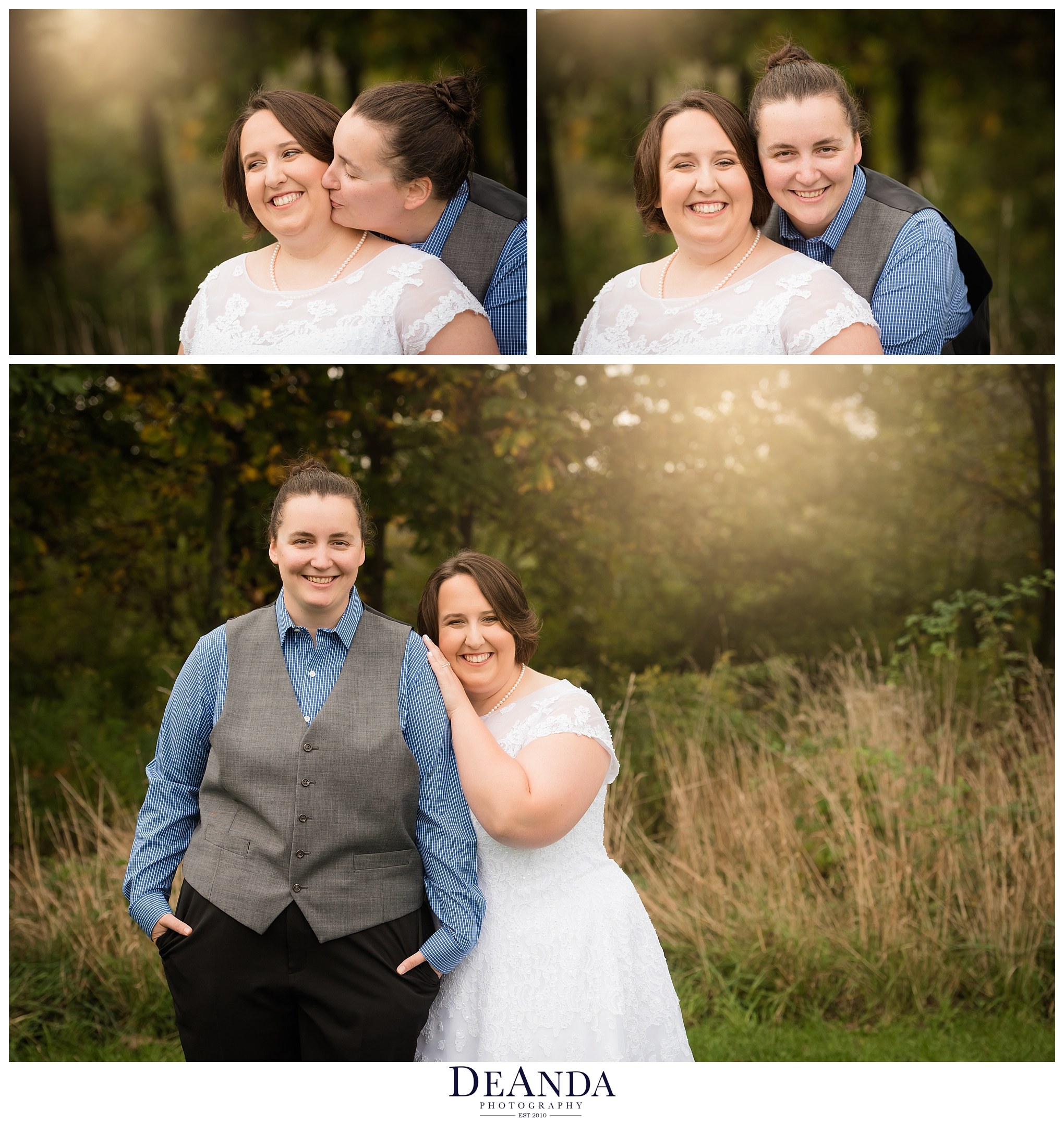 same sex wedding couple in forest preserve