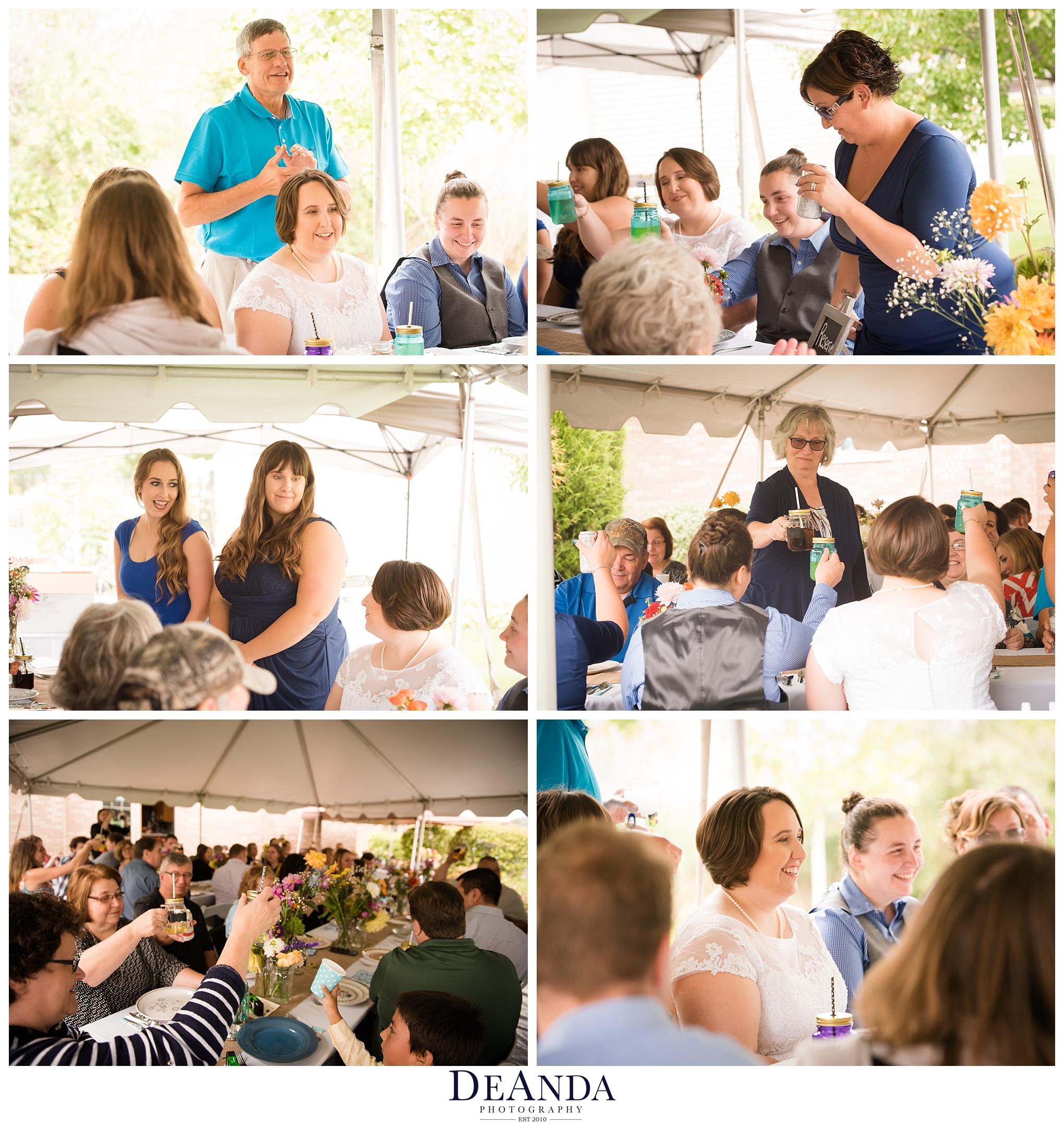 wedding speeches in outdoor wedding under white tent