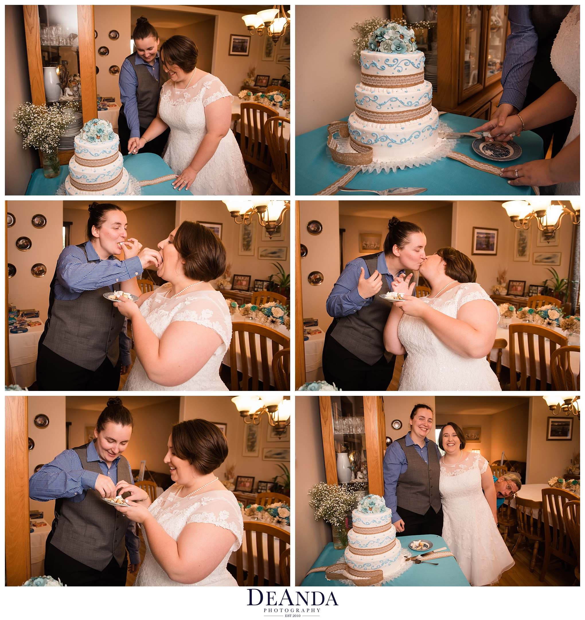 cake cut with two brides