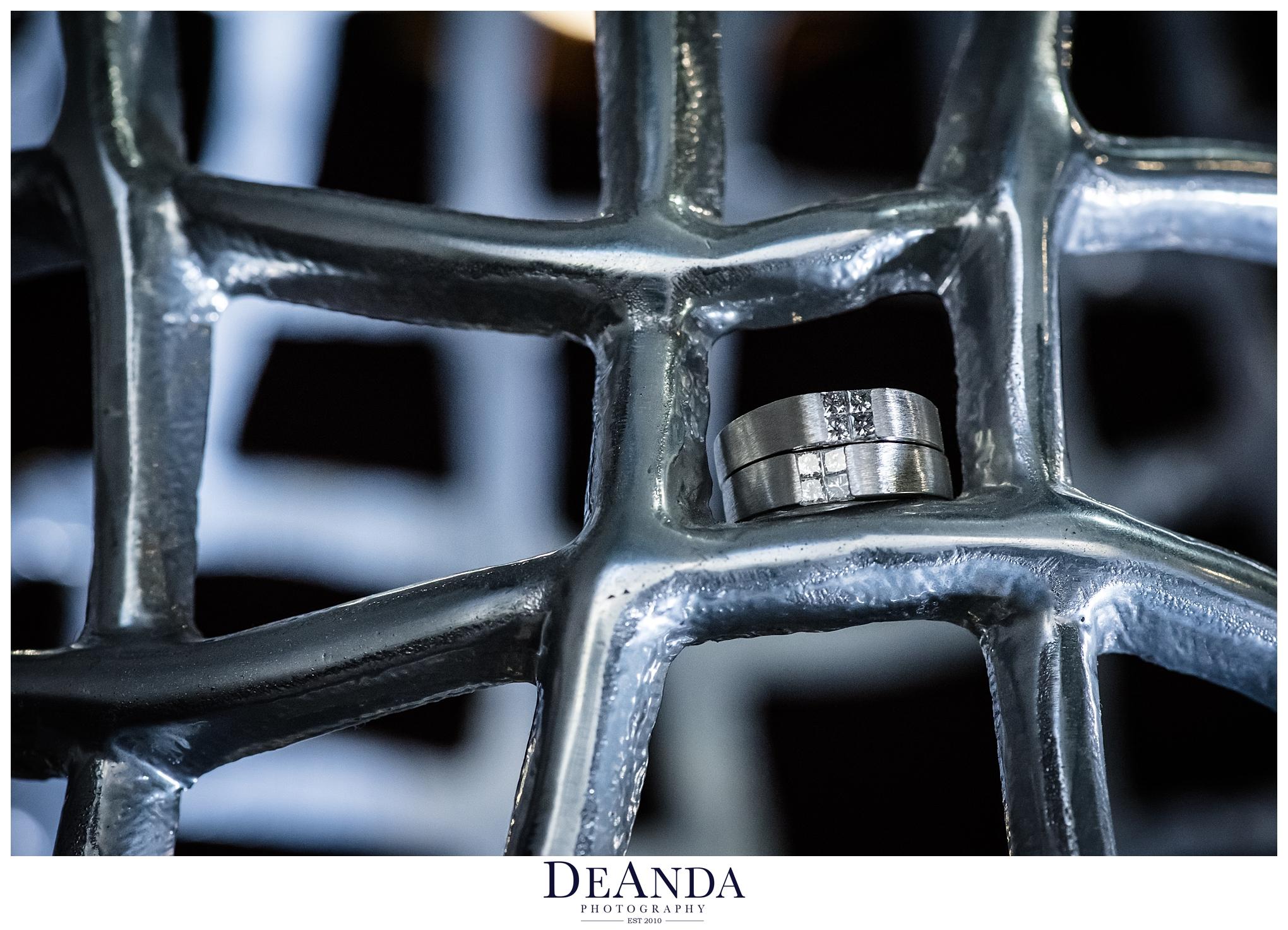 two grooms wedding rings in metal