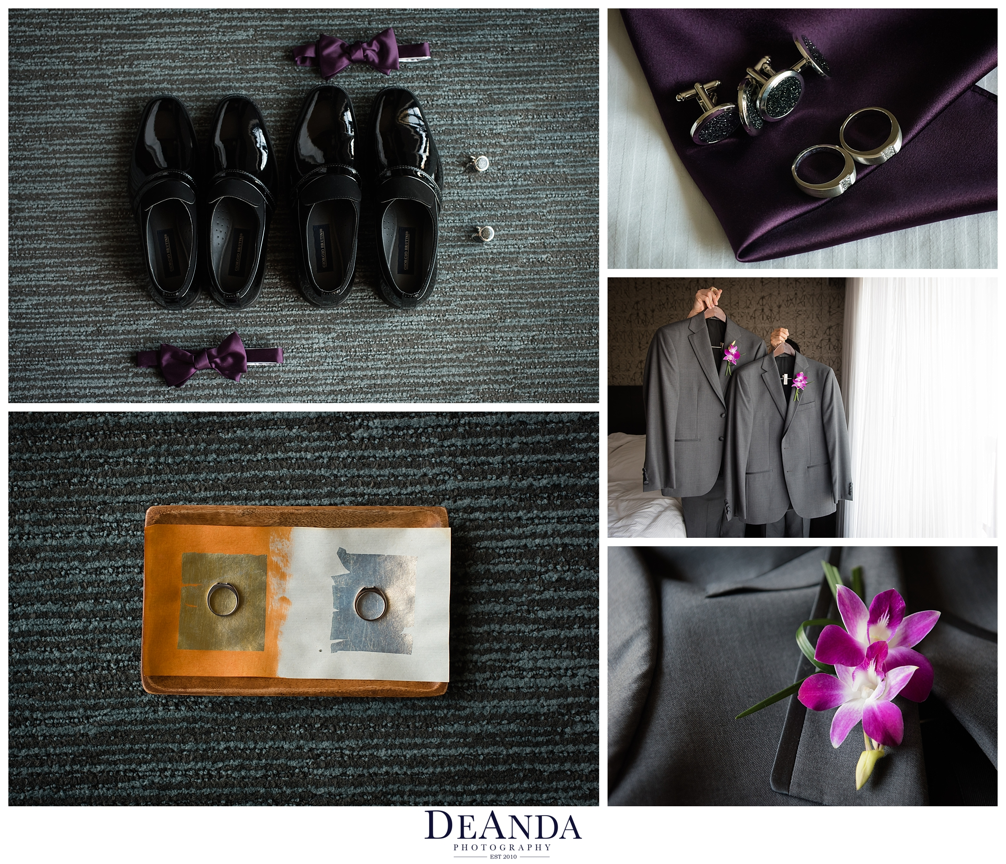 two grooms wedding details photographed together