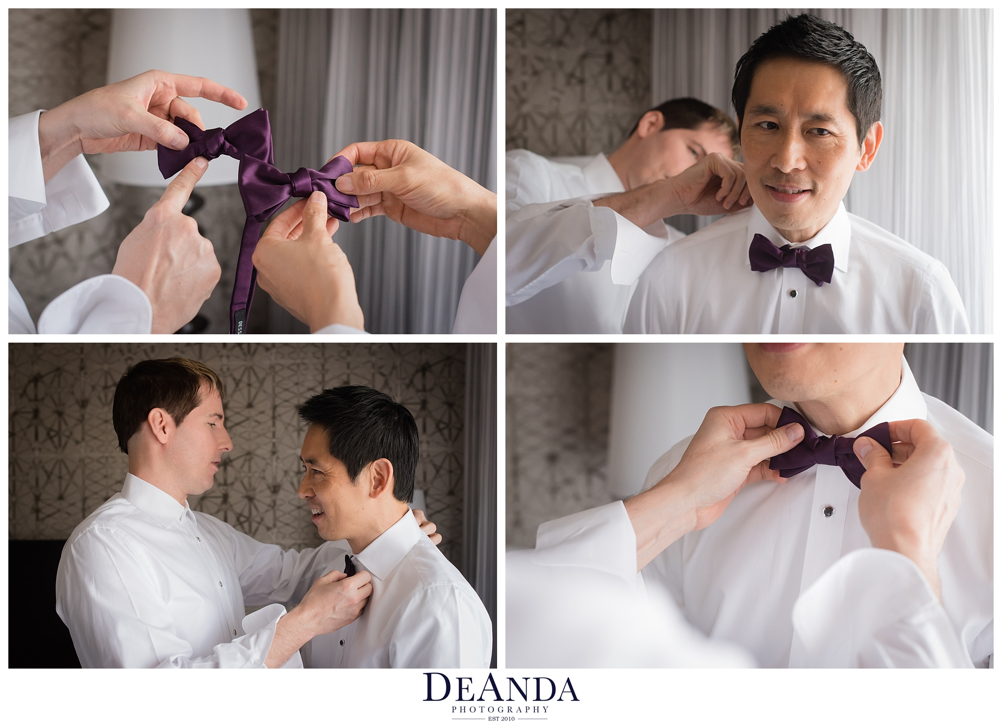 grooms getting on their bowties