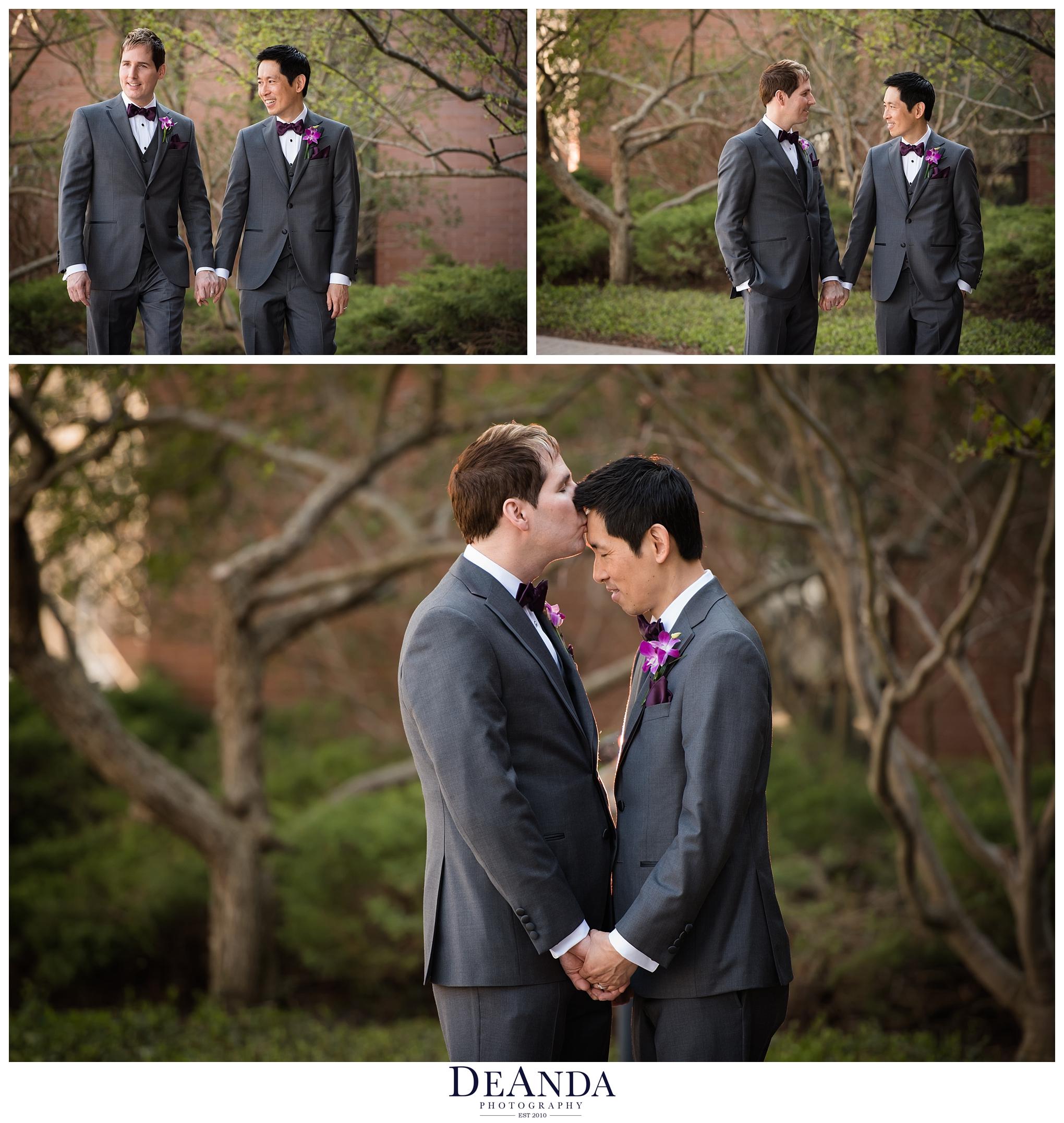 two grooms wedding photos walking
