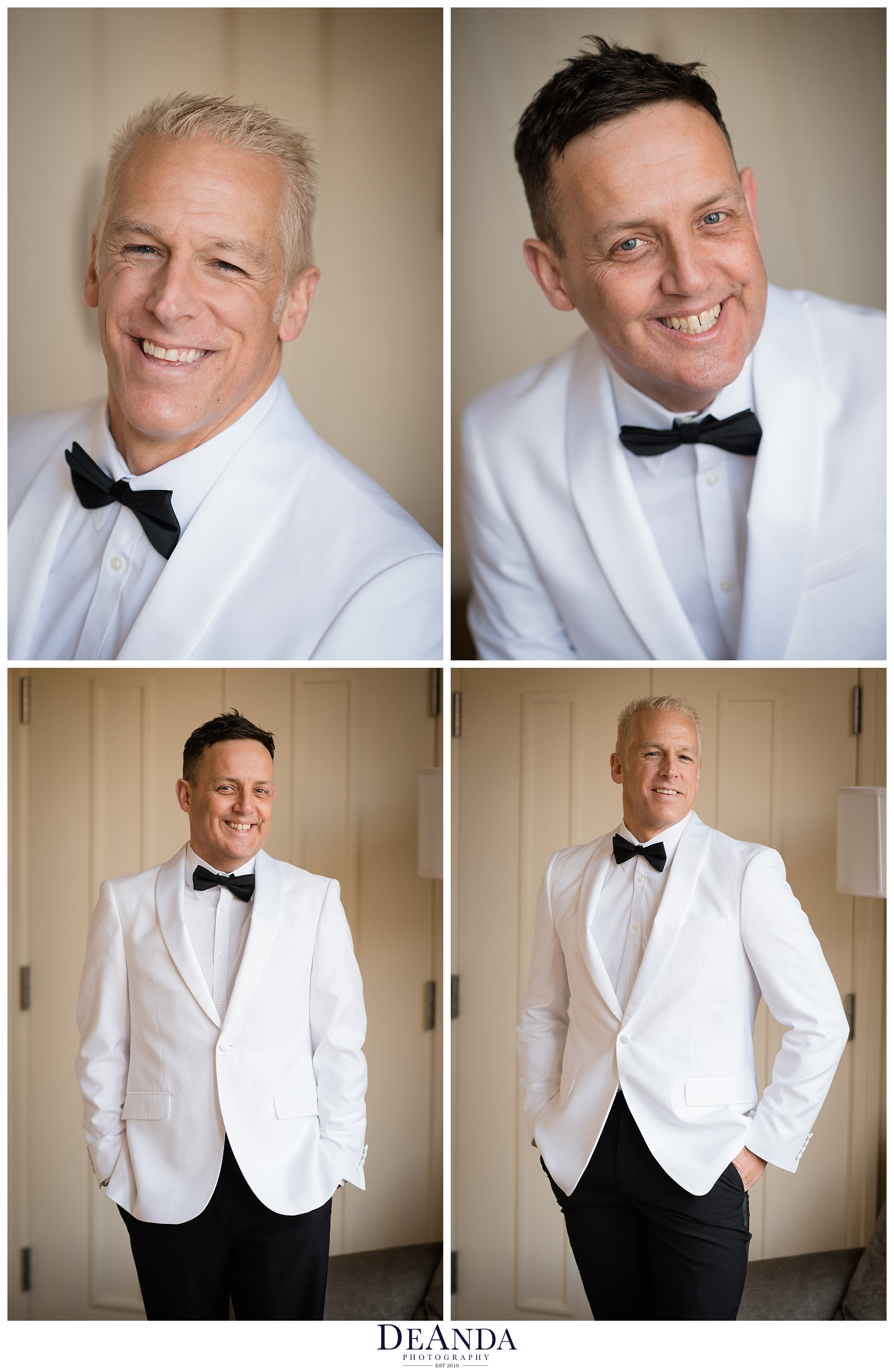 grooms portraits in white tux
