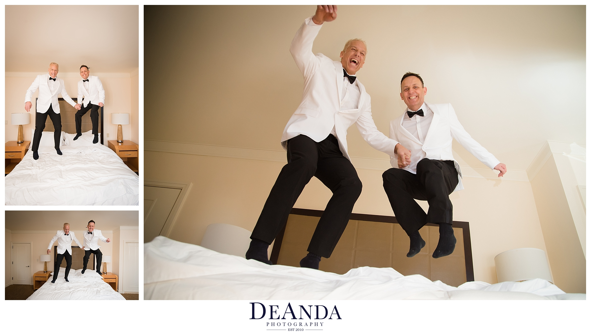 fun photo of gay couple married jumping on bed