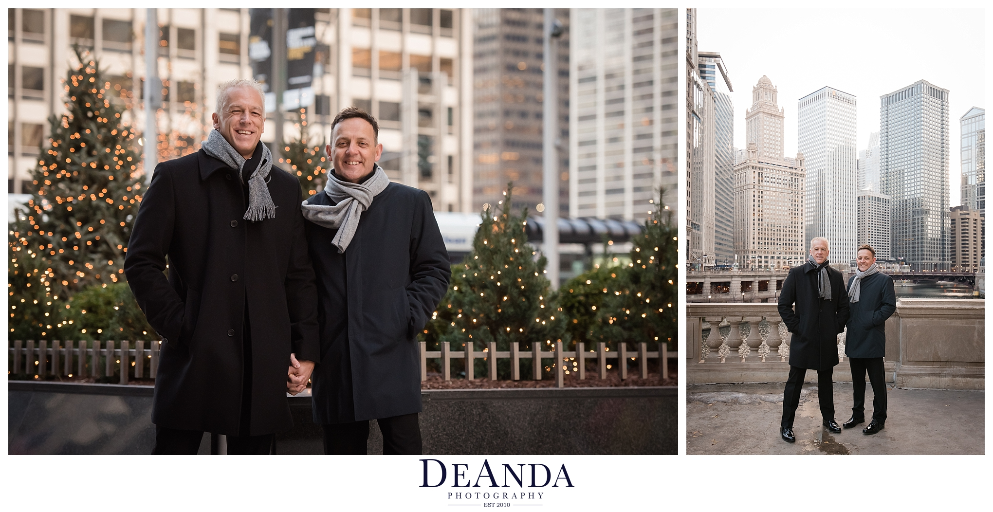 grooms portraits outside in Chicago during christmas time