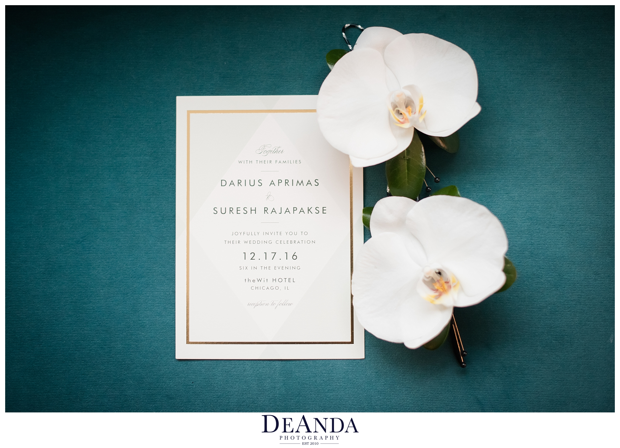 gay chicago wedding invitation with flowers