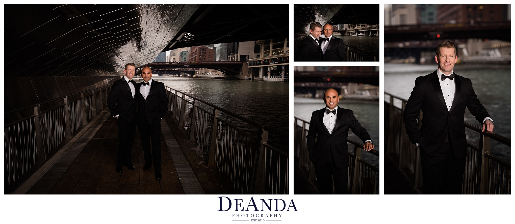 grooms wedding portraits on chicago riverwalk
