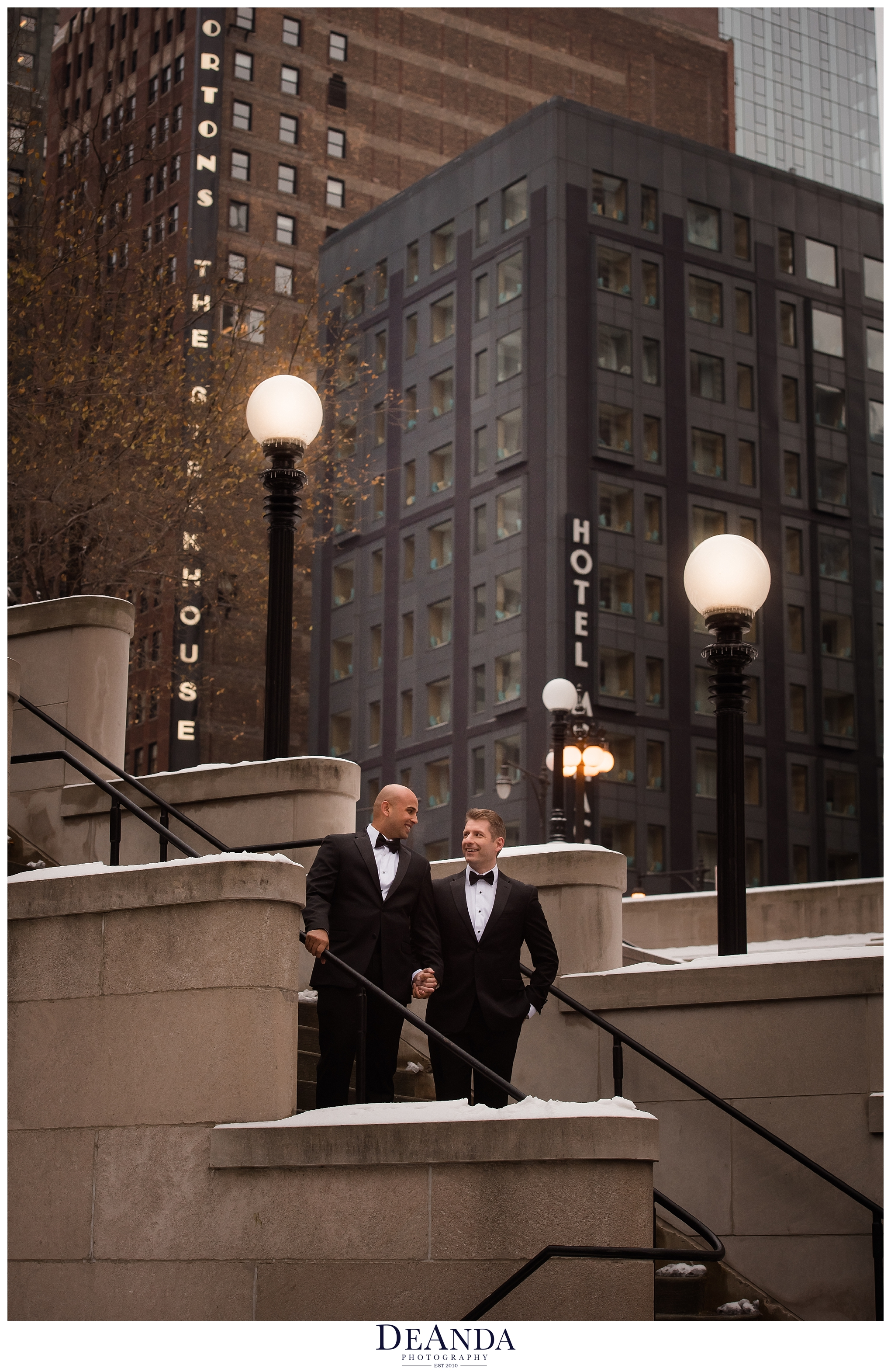 two grooms wedding portraits in chicago