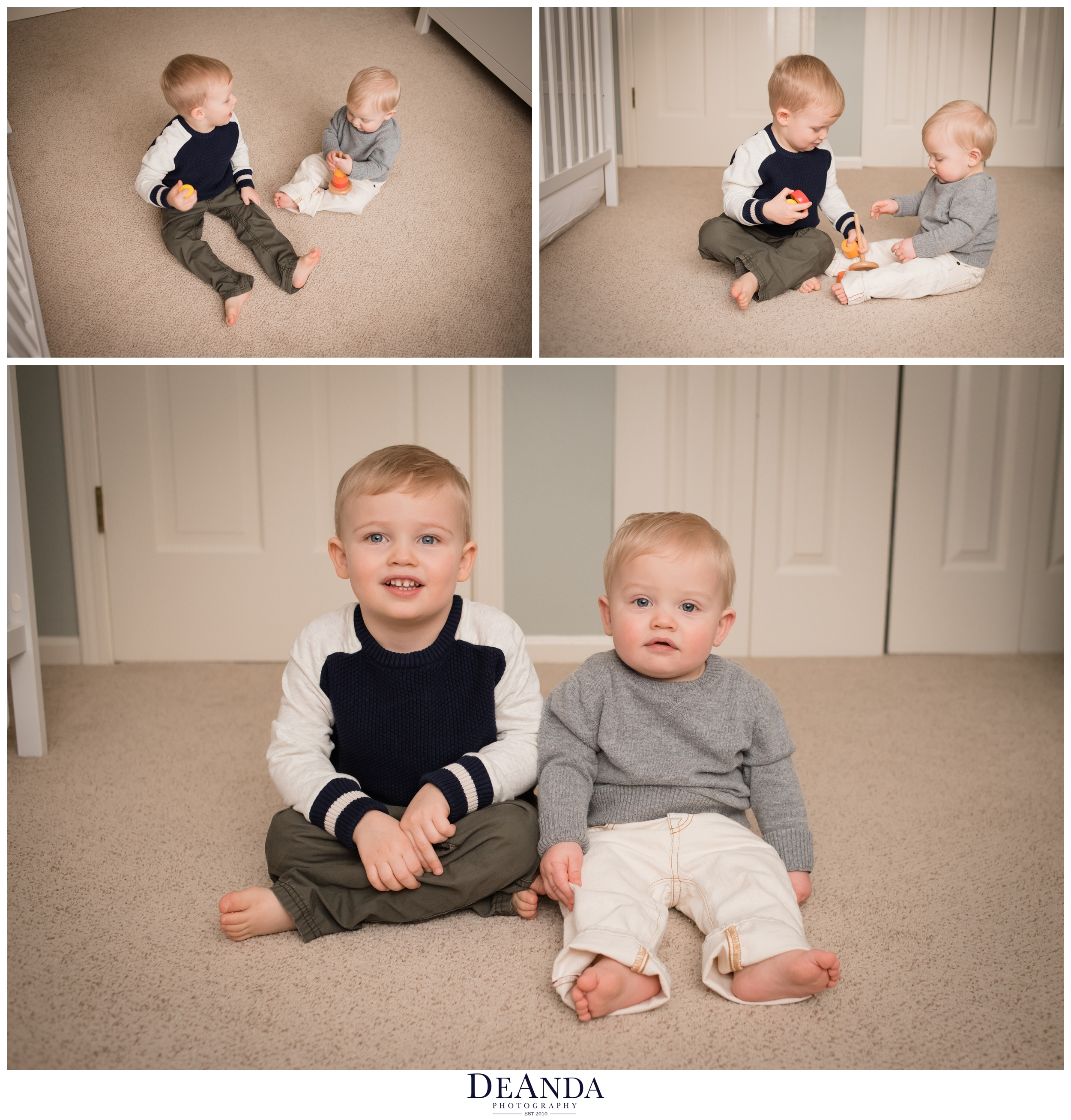 1 year old lifestyle portraits in home with brother