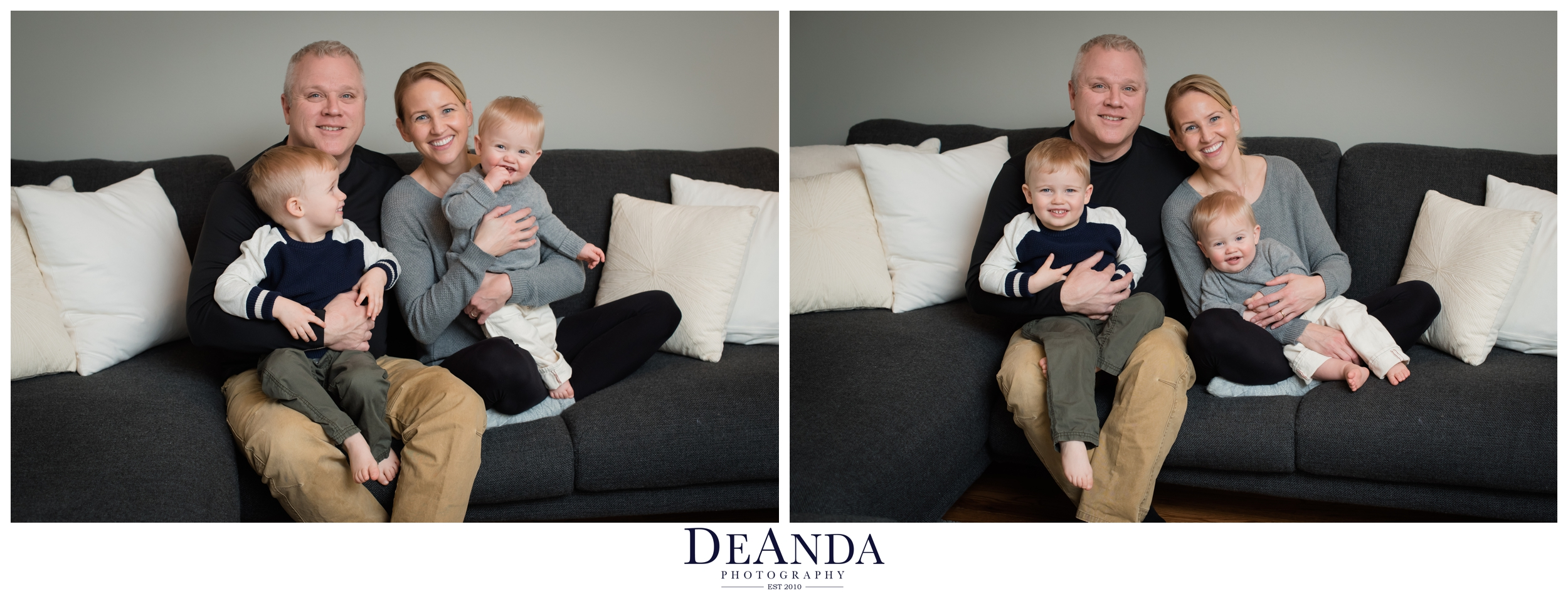 1 year old lifestyle portraits in home with family