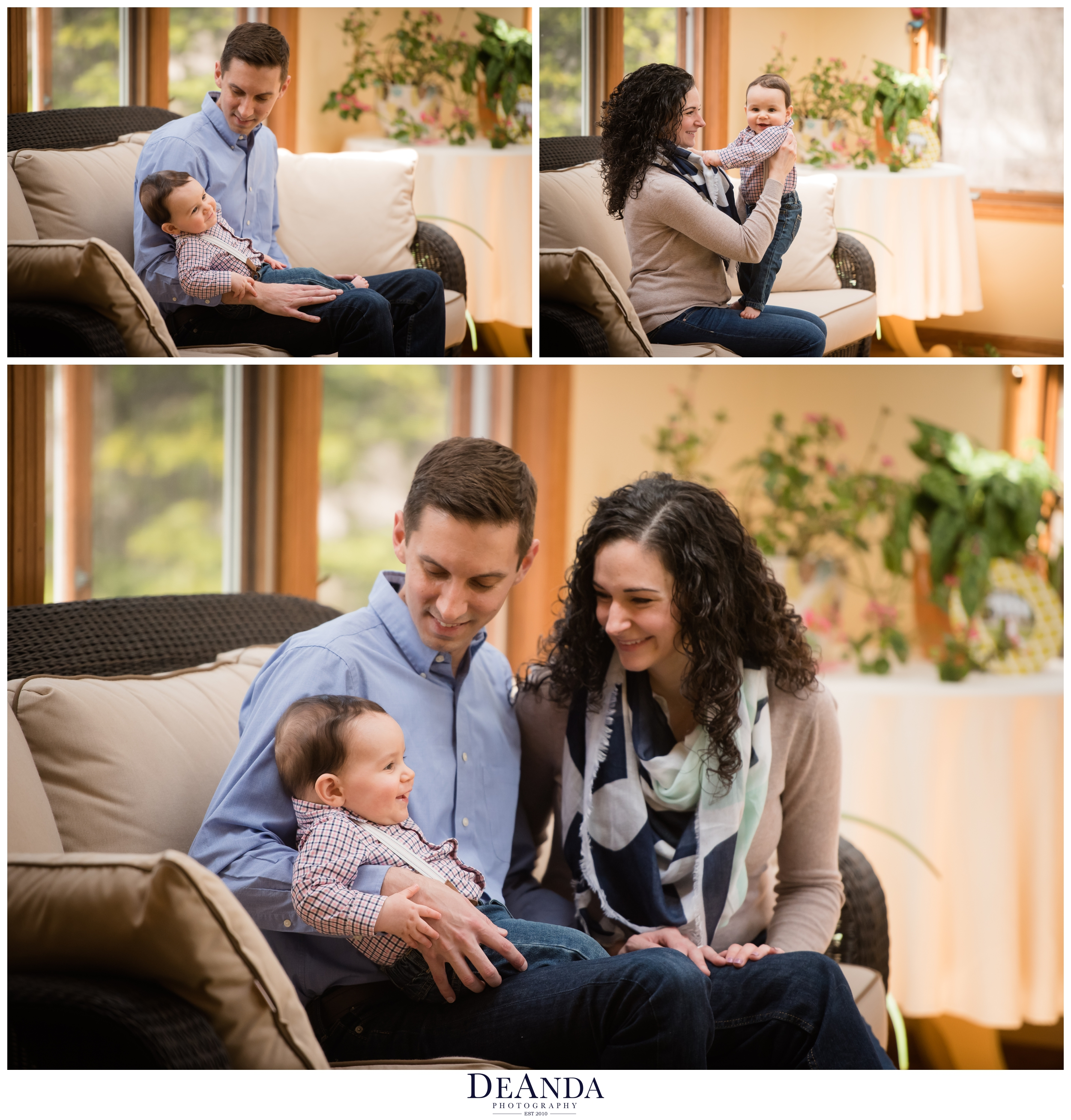 baby with mom and dad in sunroom