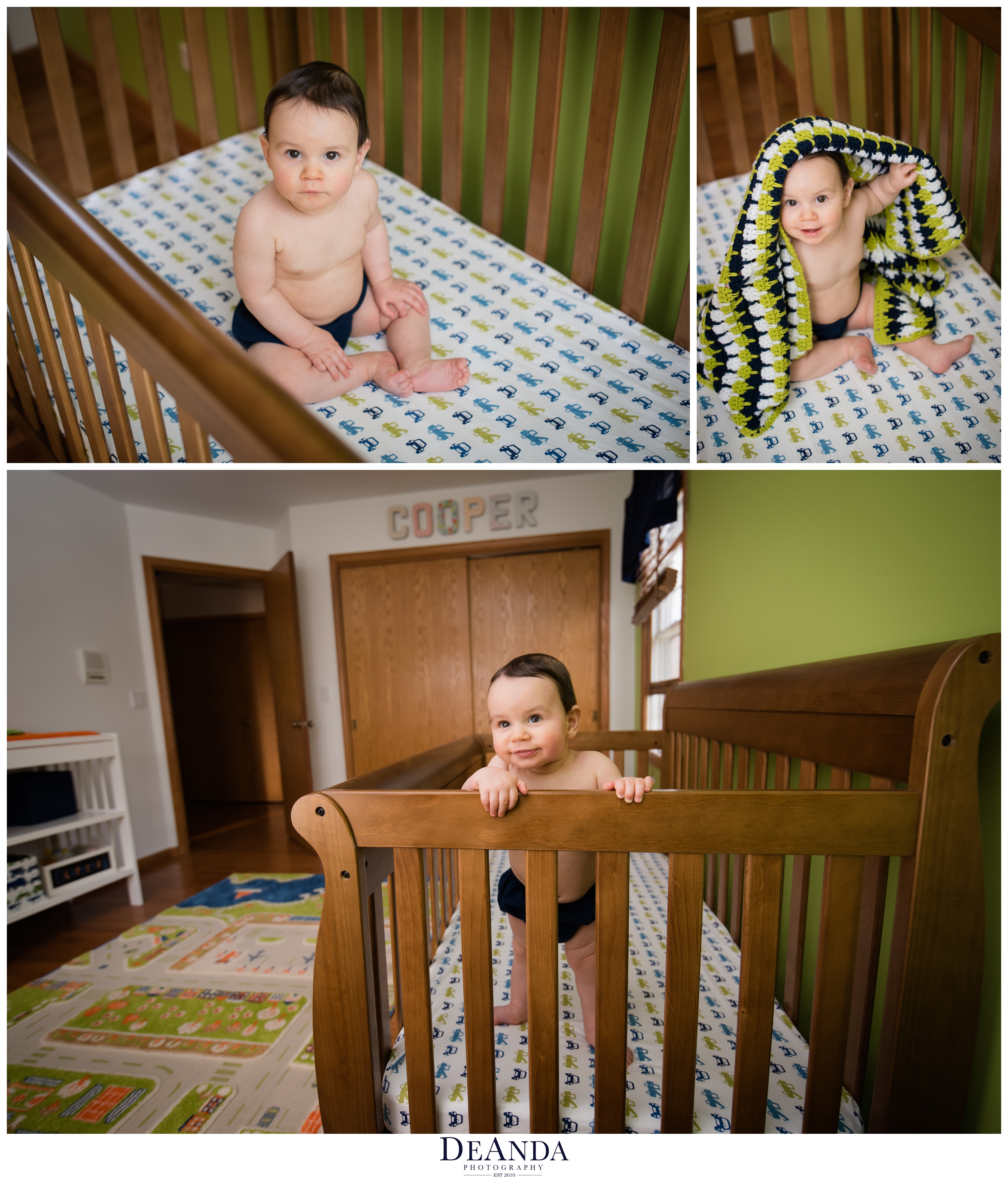 7 month old standing in crib