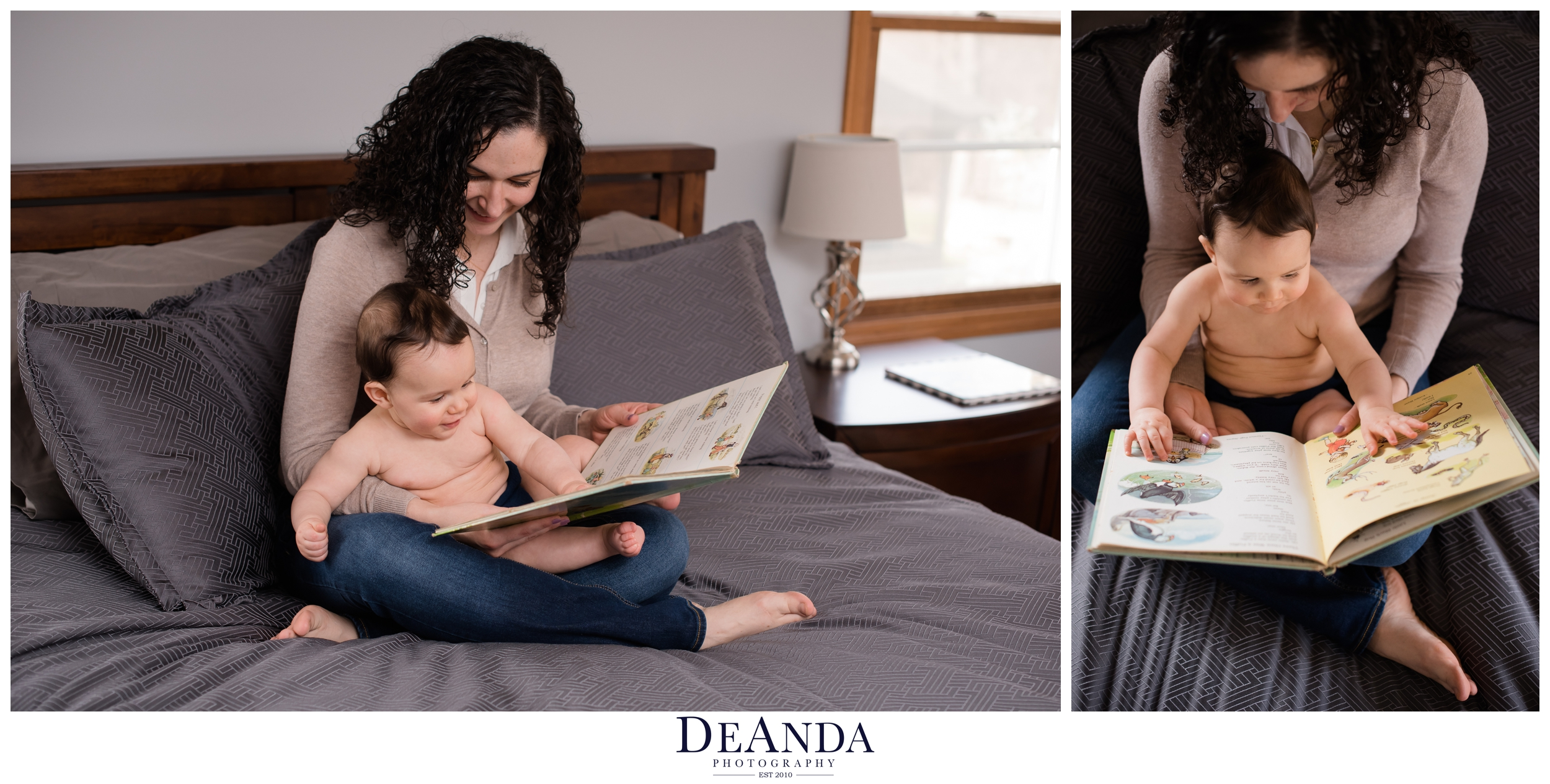 mom reading baby a book for photo shoot
