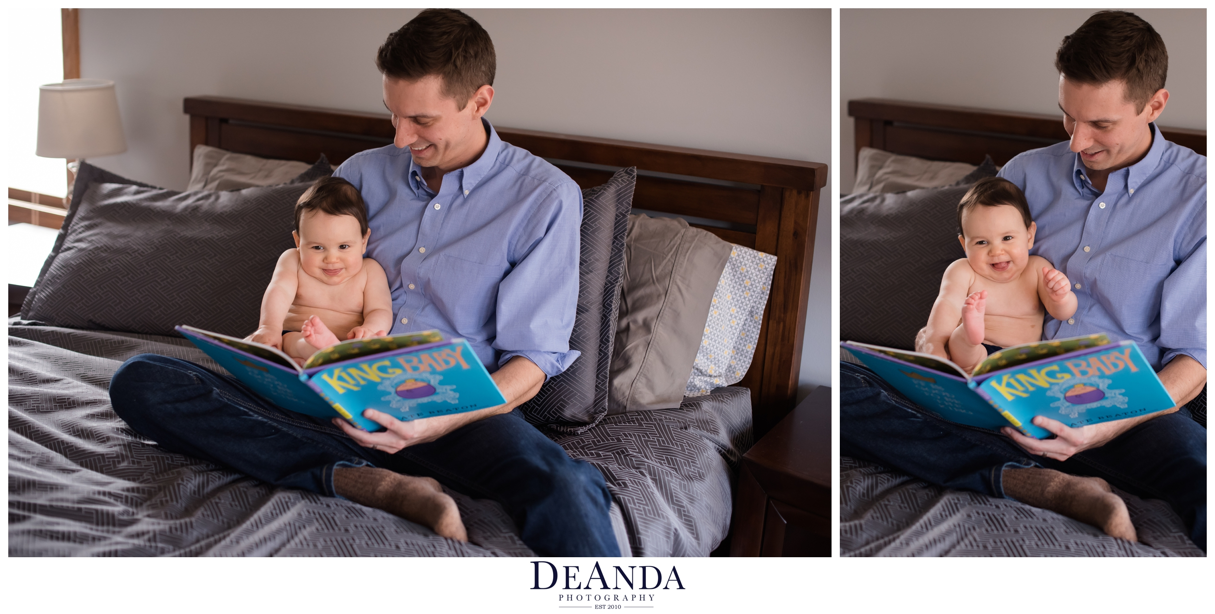 dad with baby ready in bed