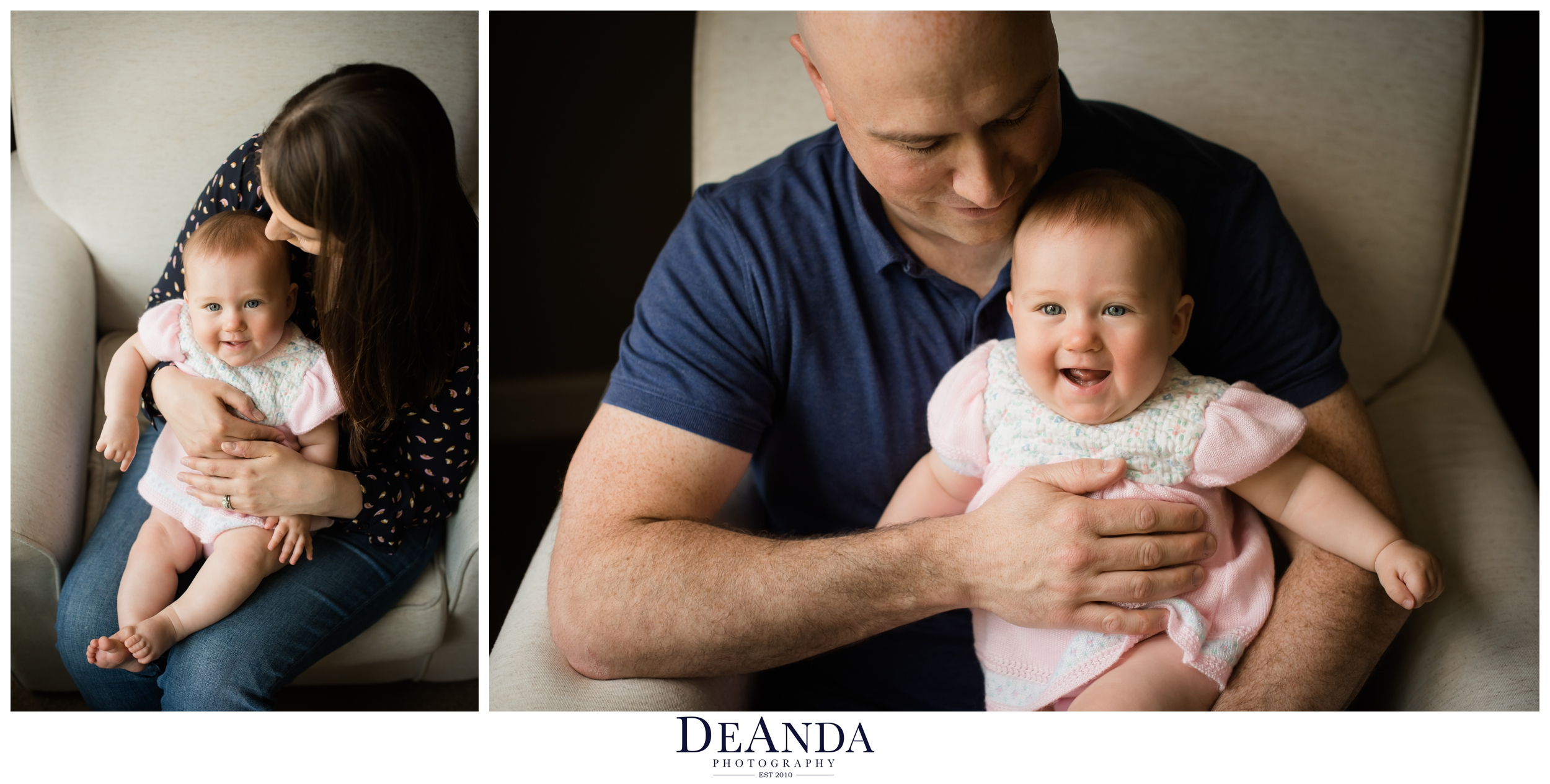 6 month old lifestyle portraits with mom and dad in western springs